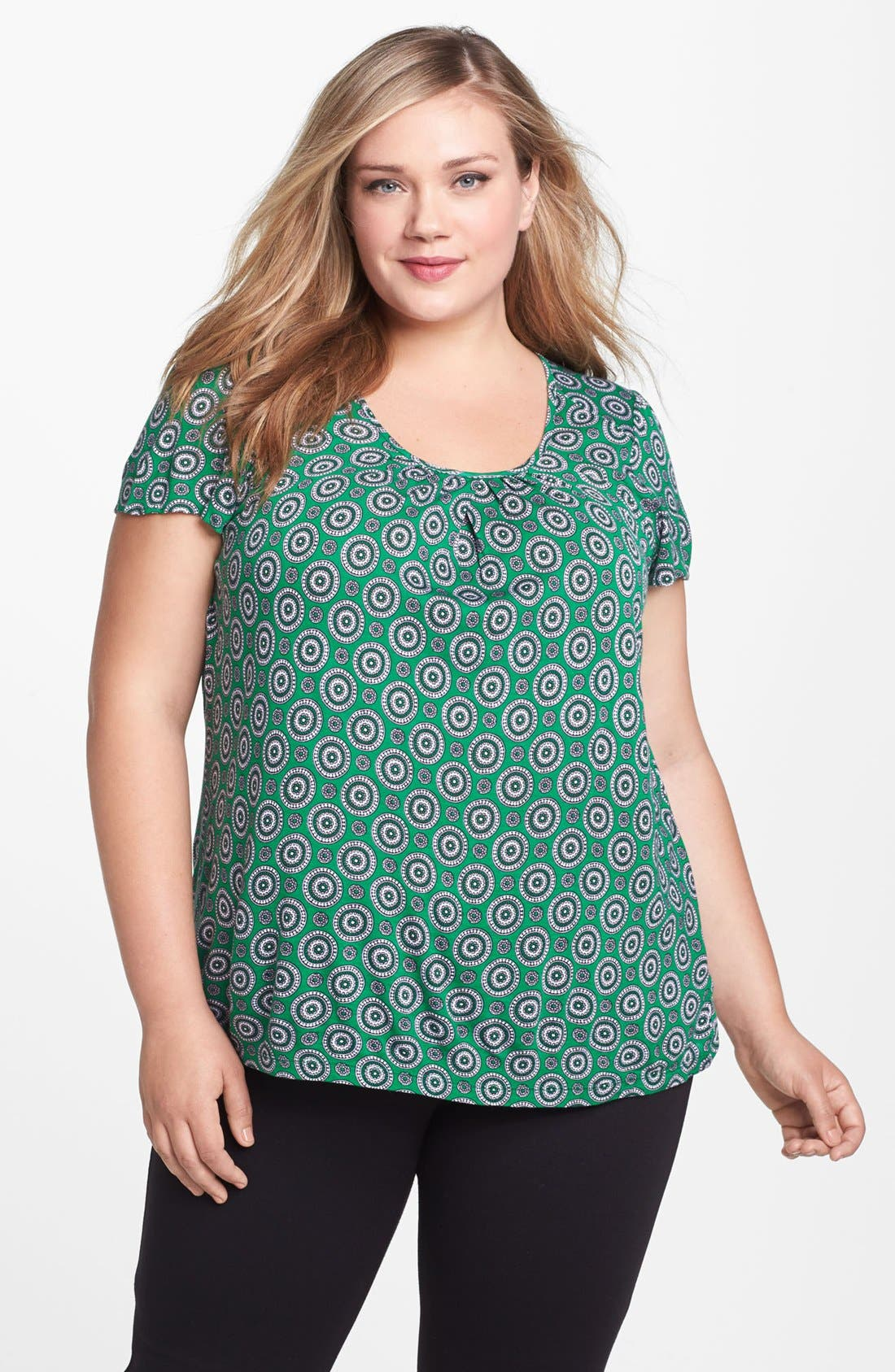 Alternate Image 1 Selected - MICHAEL Michael Kors Print Flutter Sleeve Top (Plus Size)