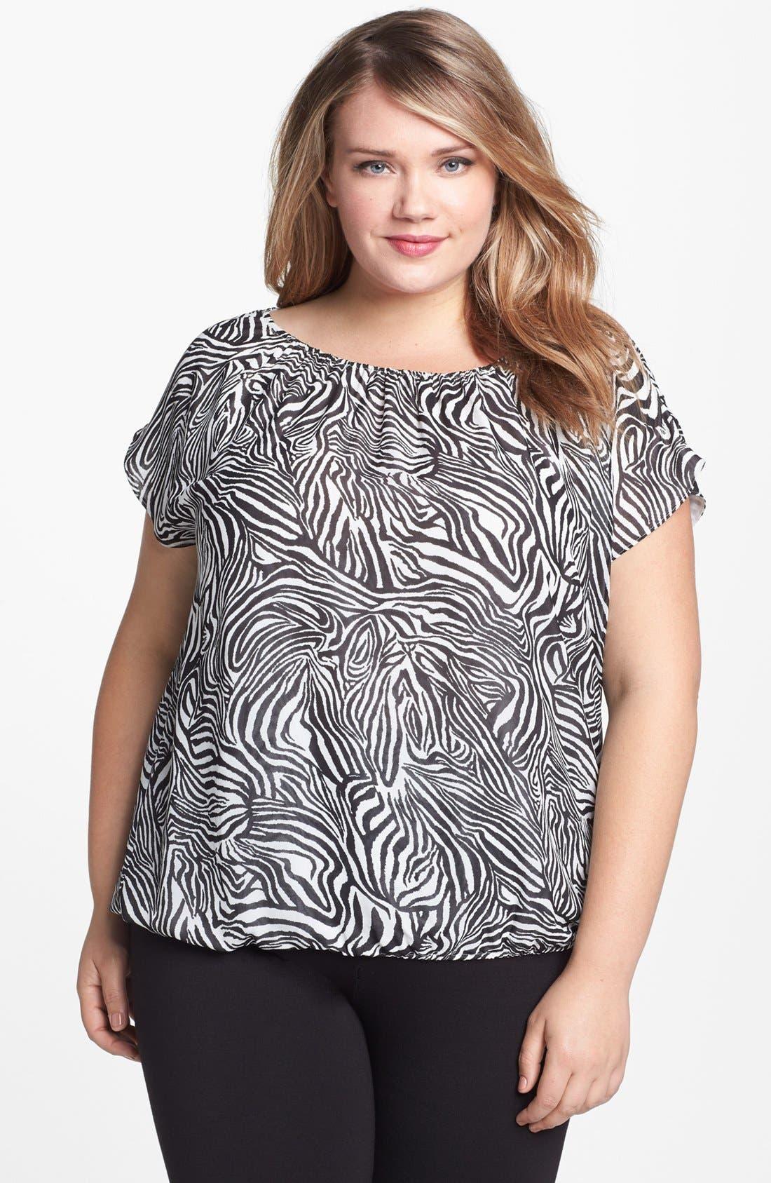 Main Image - Vince Camuto Zebra Print Blouse (Plus Size)
