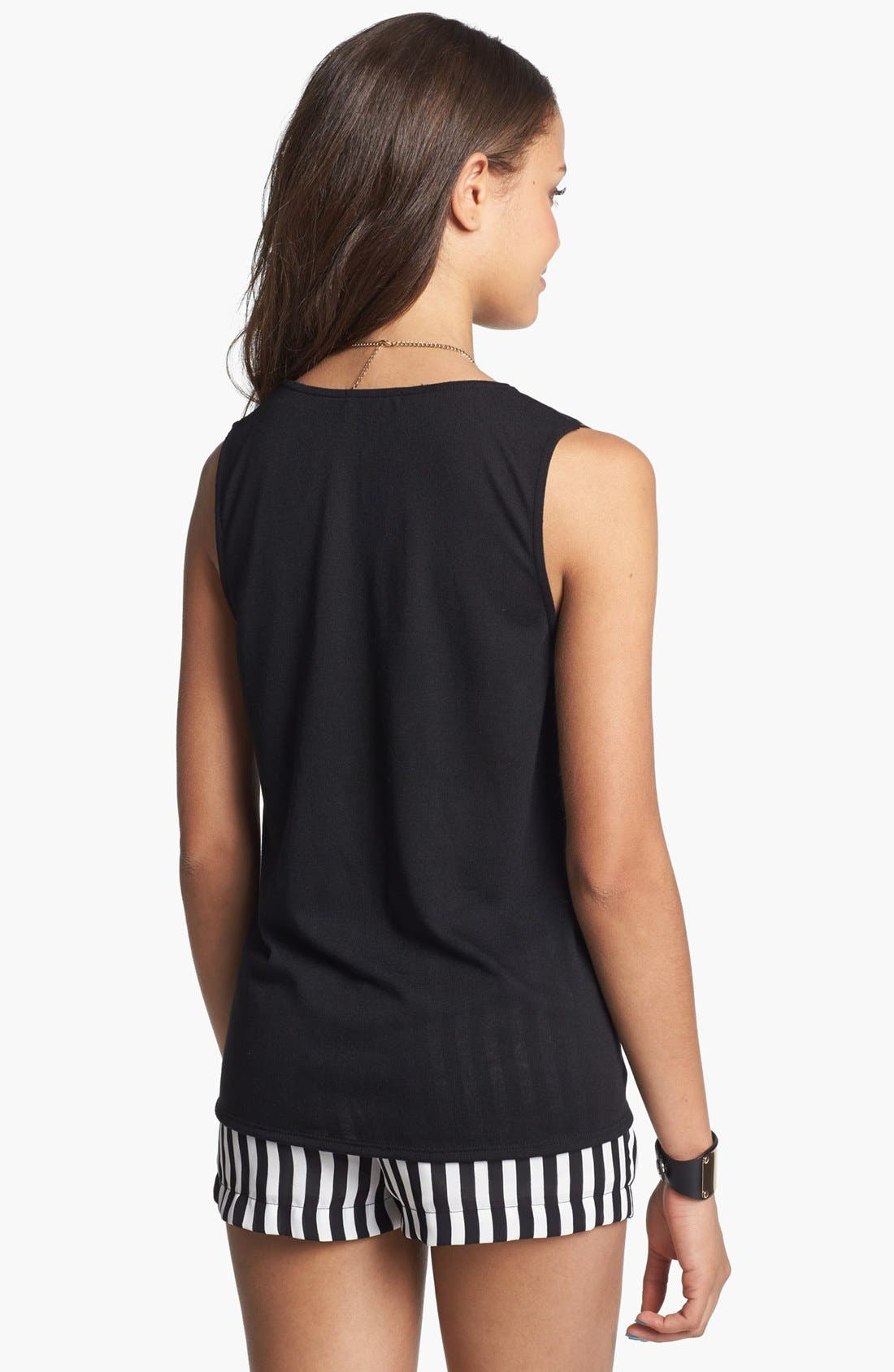 Alternate Image 2  - Soprano Faux Leather Front Tank (Juniors)