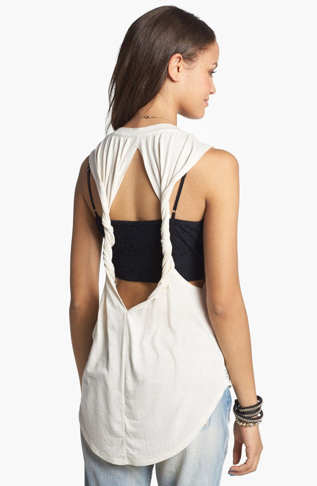 Alternate Image 2  - Chloe K Lace Front Twisted Muscle Tank (Juniors)