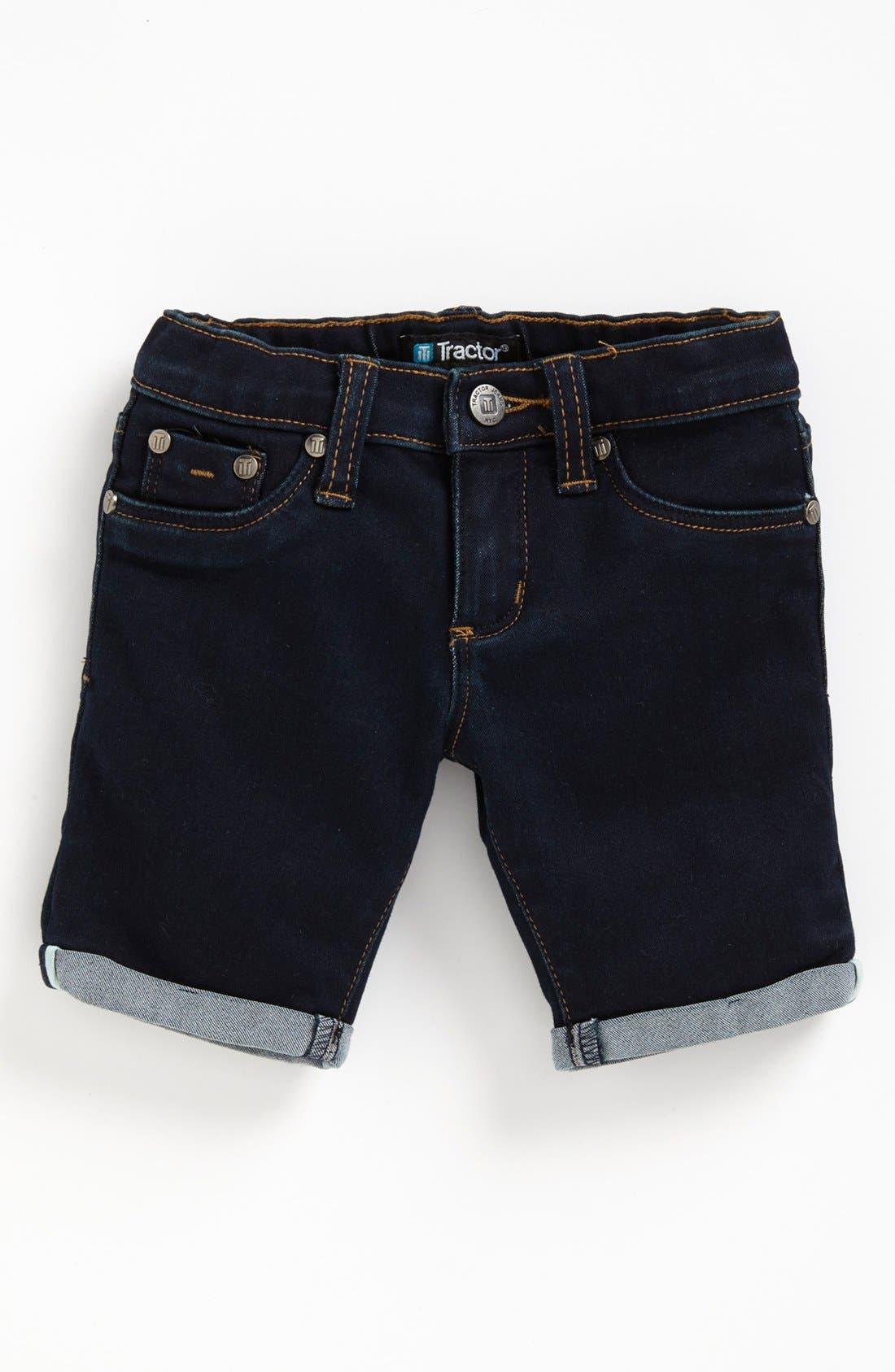 Alternate Image 2  - Tractor Roll Cuff Denim Bermuda Shorts (Big Girls)