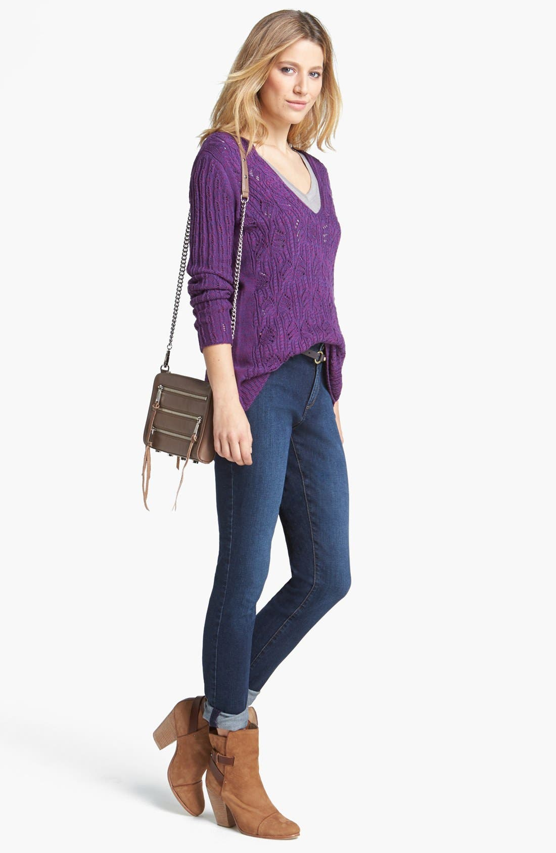 Alternate Image 1 Selected - Nic + Zoe Sweater & NYDJ Skinny Boyfriend Jeans