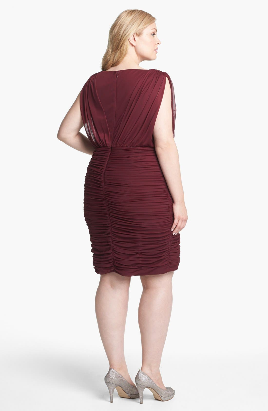 Alternate Image 2  - Adrianna Papell Embellished Mesh Ruched Dress (Plus Size)
