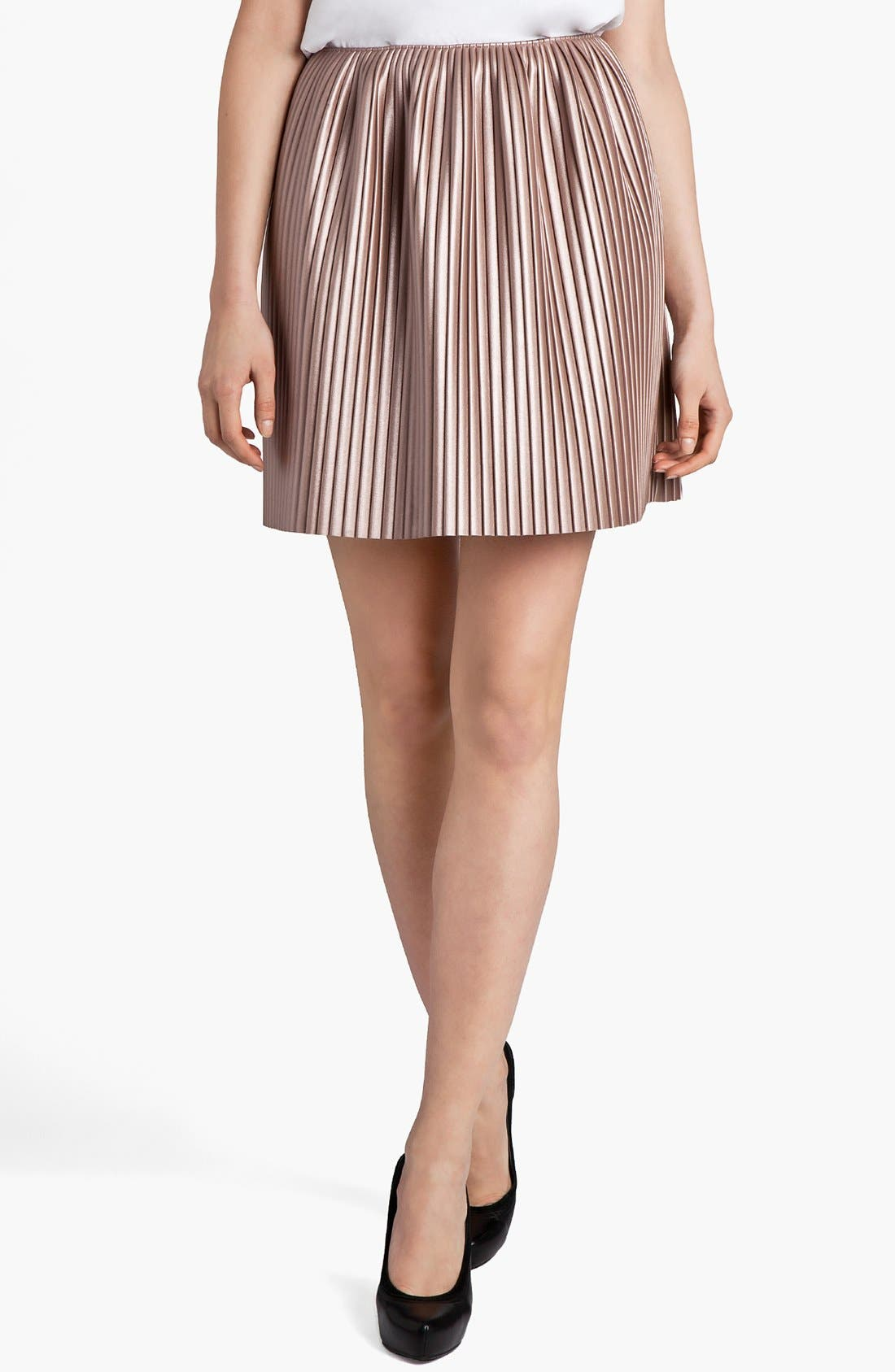 Main Image - MSGM Pleated Faux Leather Skirt