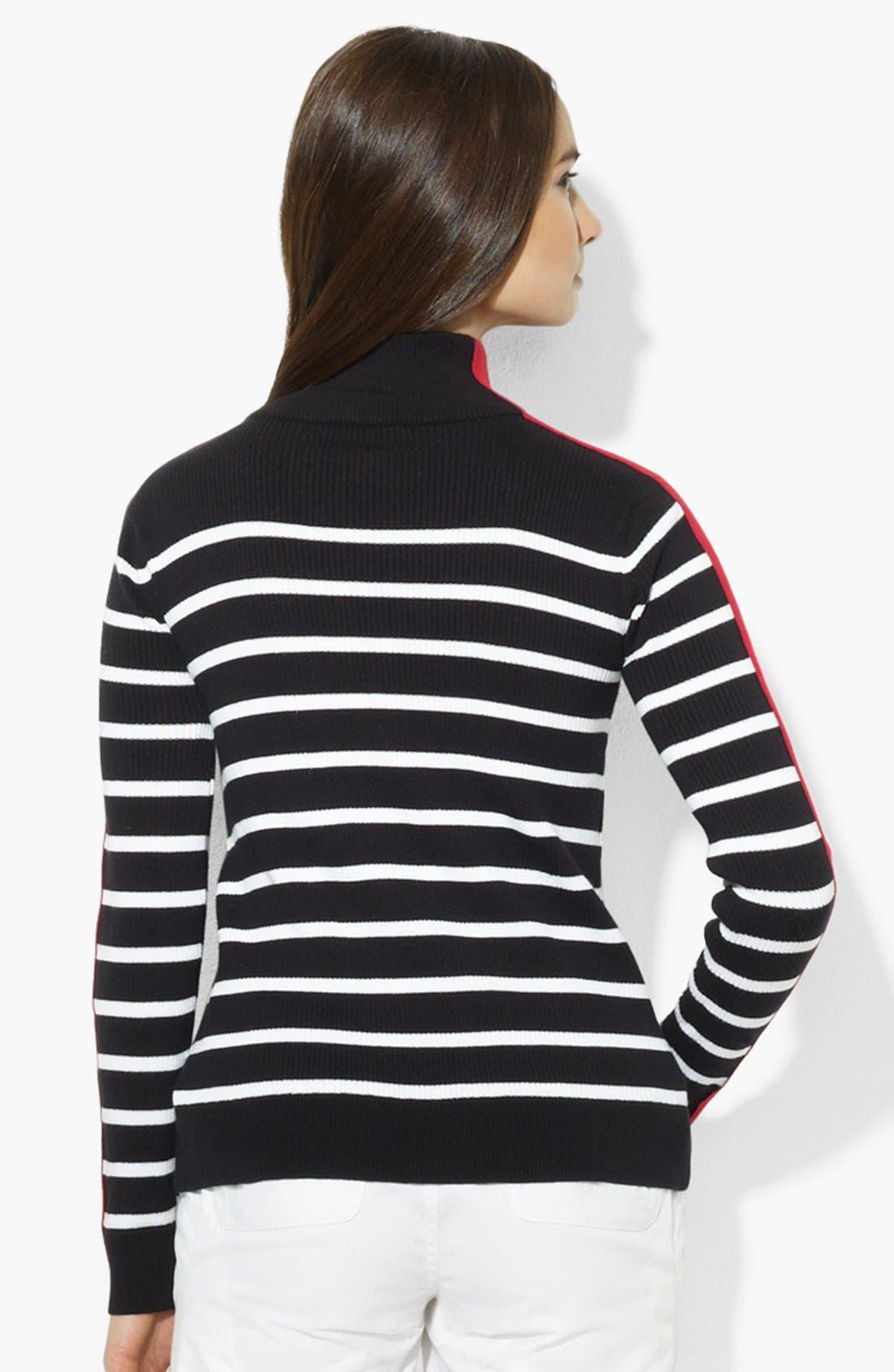 Alternate Image 2  - Lauren Ralph Lauren Zip Front Stripe Cardigan