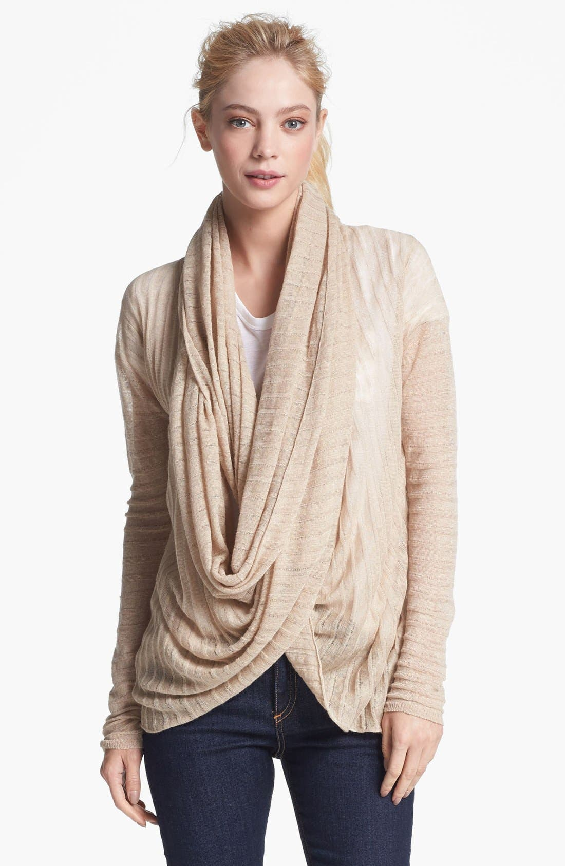 Main Image - Alice + Olivia Draped Linen Wrap Sweater