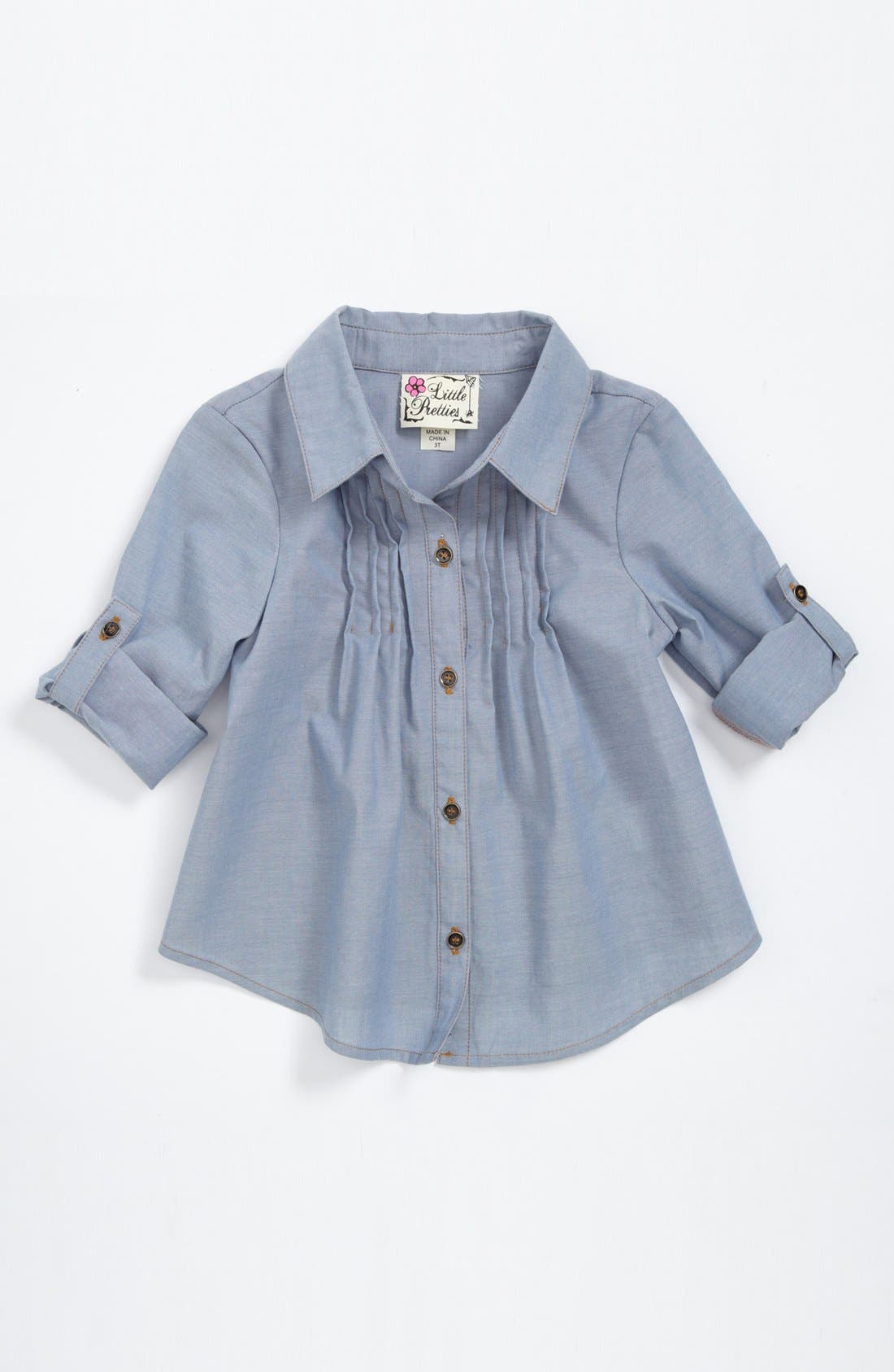 Alternate Image 1 Selected - Little Pretties Chambray Tunic (Toddler Girls)