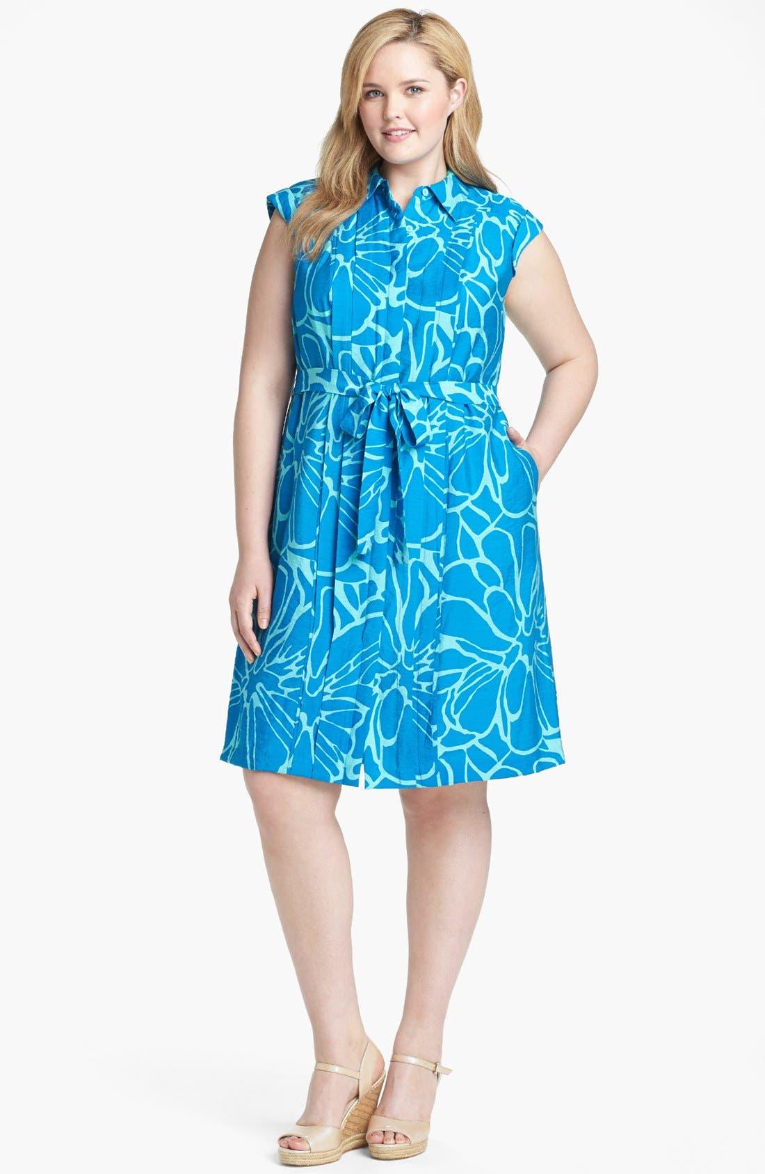 Main Image - Adrianna Papell Print Pintucked Shirtdress (Plus Size)