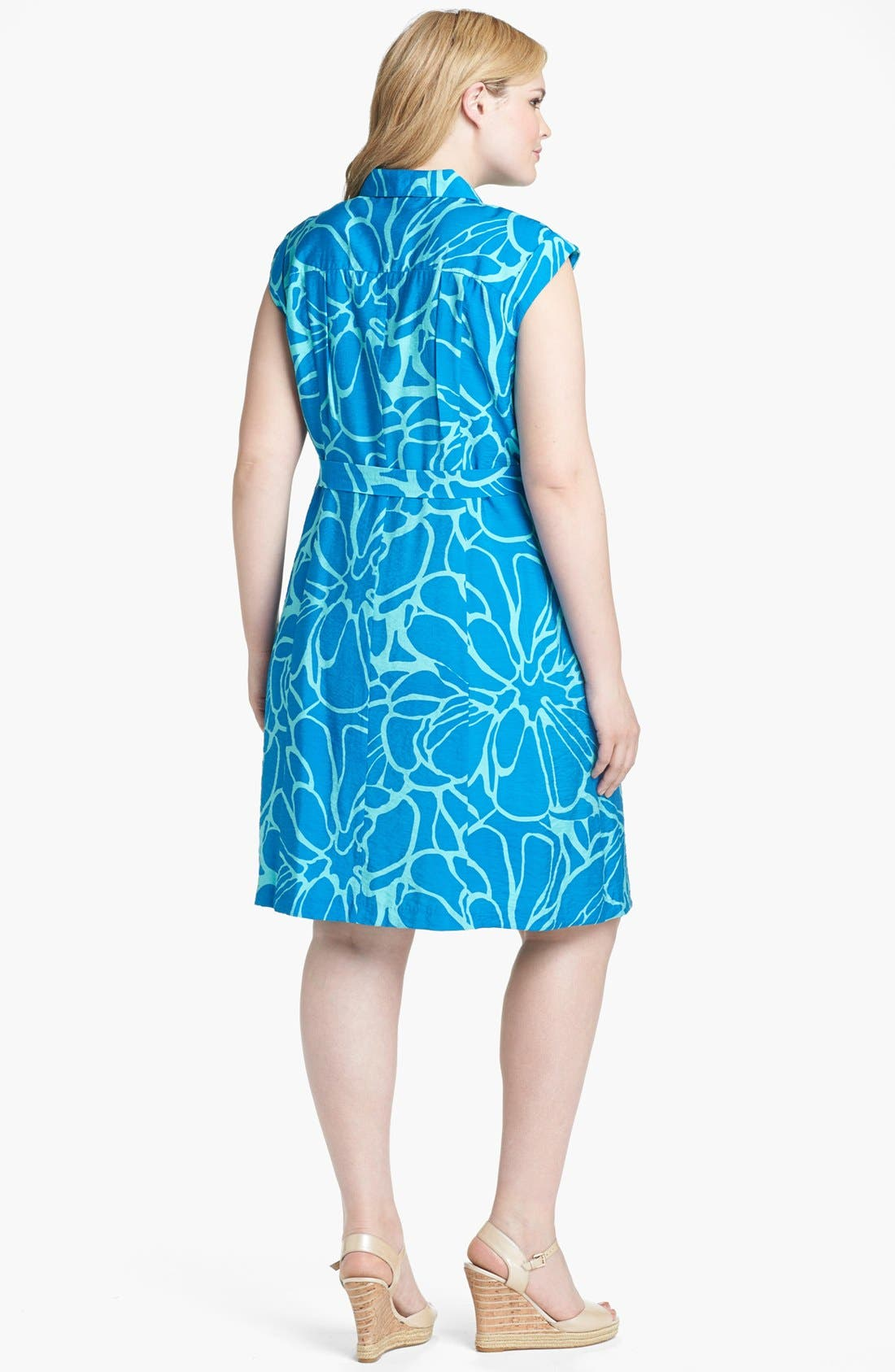 Alternate Image 2  - Adrianna Papell Print Pintucked Shirtdress (Plus Size)