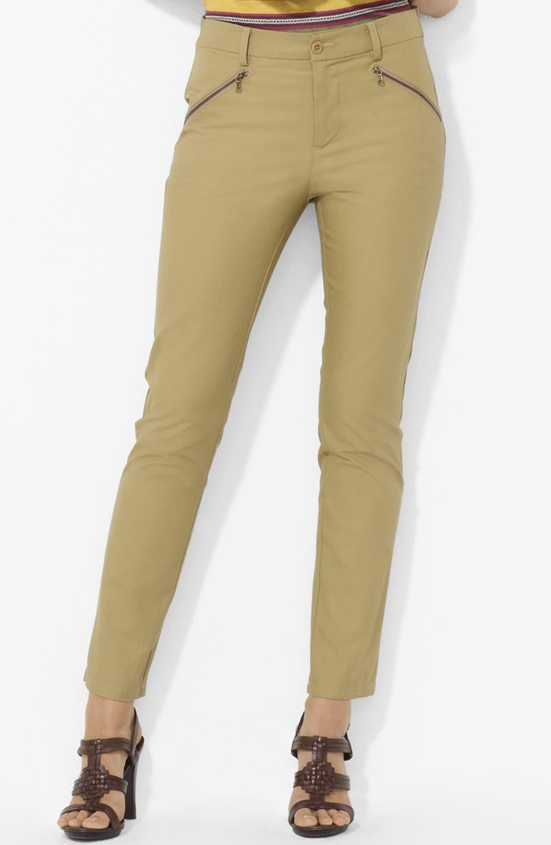 Main Image - Lauren Ralph Lauren Slim Twill Pants (Petite)