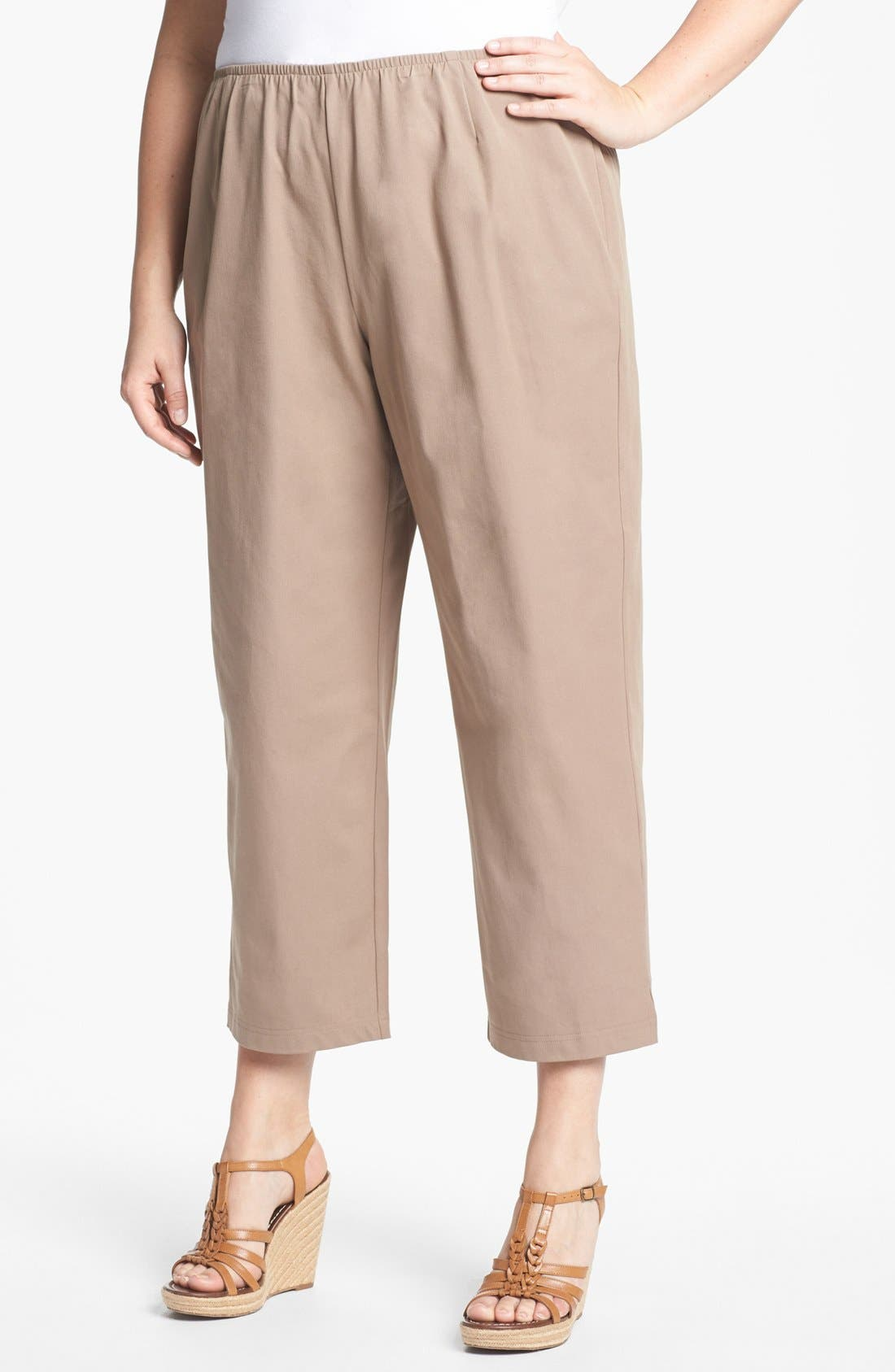 Alternate Image 1 Selected - Eileen Fisher Stretch Ankle Pants (Plus Size)
