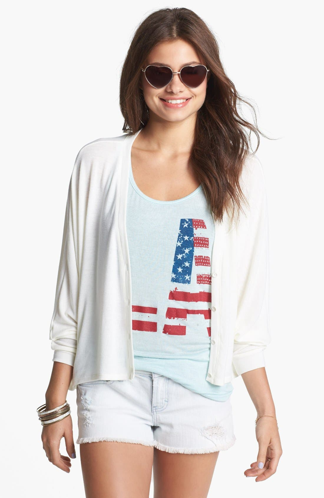 Alternate Image 1 Selected - Painted Threads Dolman Sleeve Cardigan (Juniors)