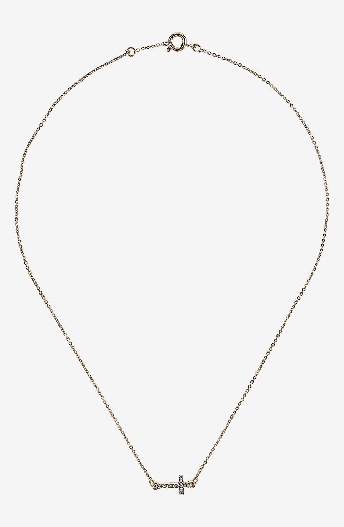 Main Image - Topshop Ditsy Rhinestone Cross Necklace