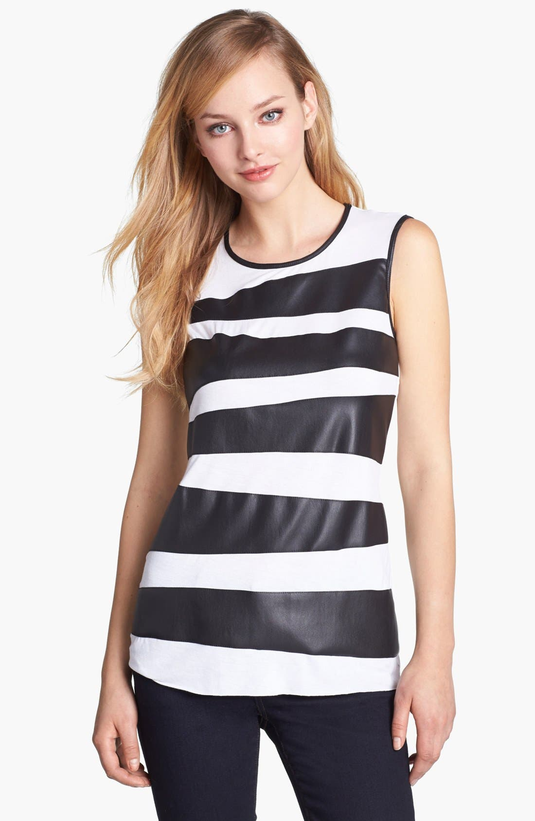 Alternate Image 1 Selected - Vince Camuto Faux Leather Zigzag Tank (Regular & Petite)