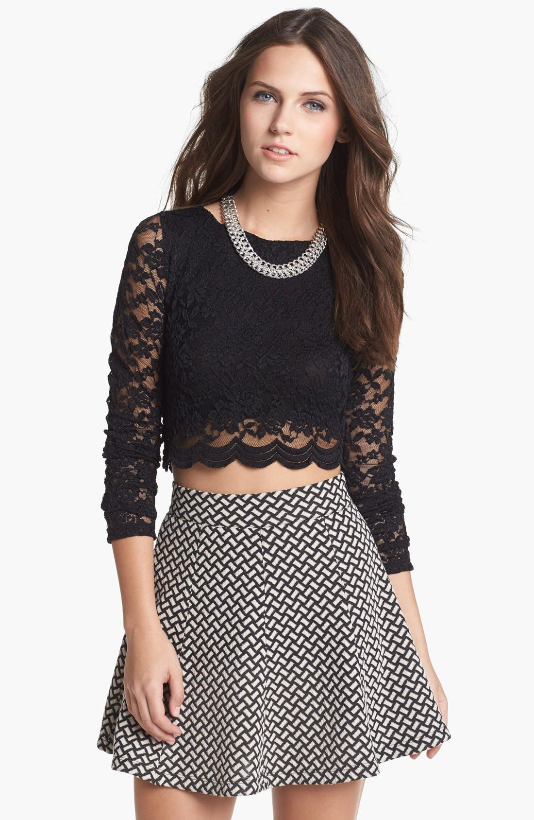 Main Image - Haute Society Long Sleeve Lace Crop Tee (Juniors)