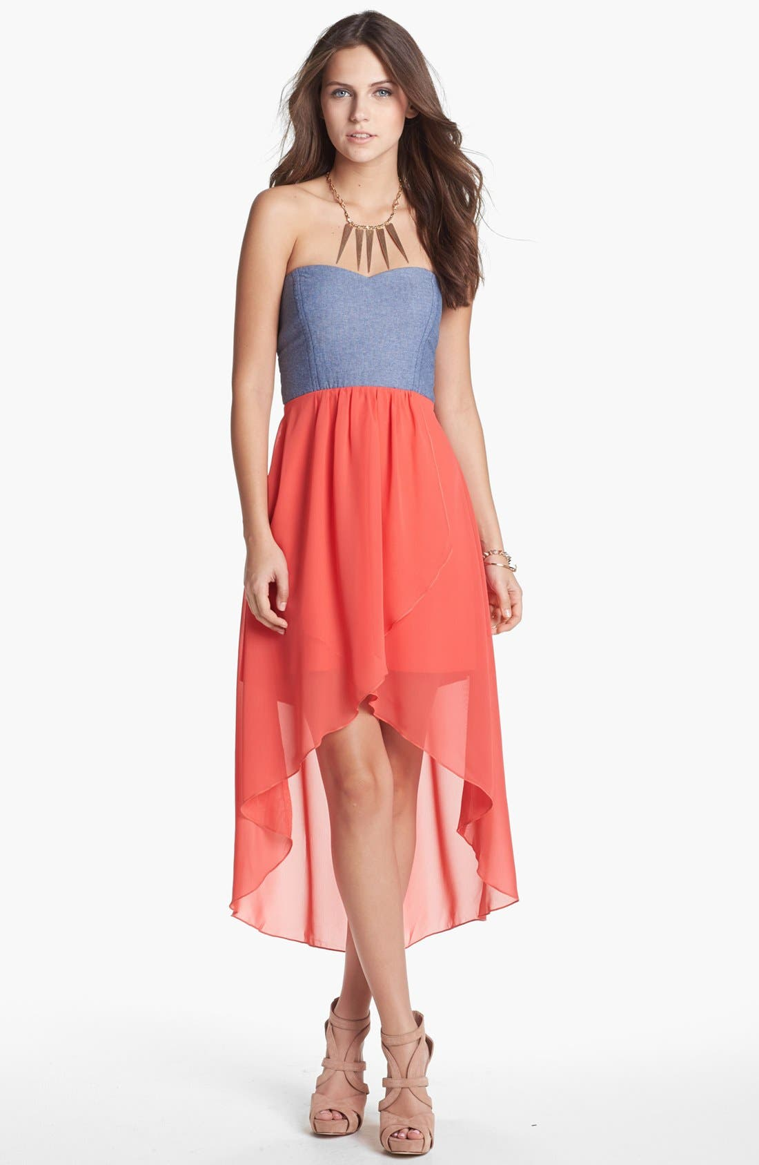 Main Image - Trixxi Mixed Media Cutout High/Low Dress (Juniors) (Online Only)