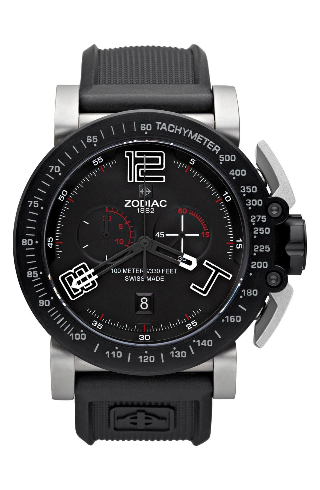 Alternate Image 1 Selected - RACER CHRONOGRAPH WATCH W/ RUBBER STRAP