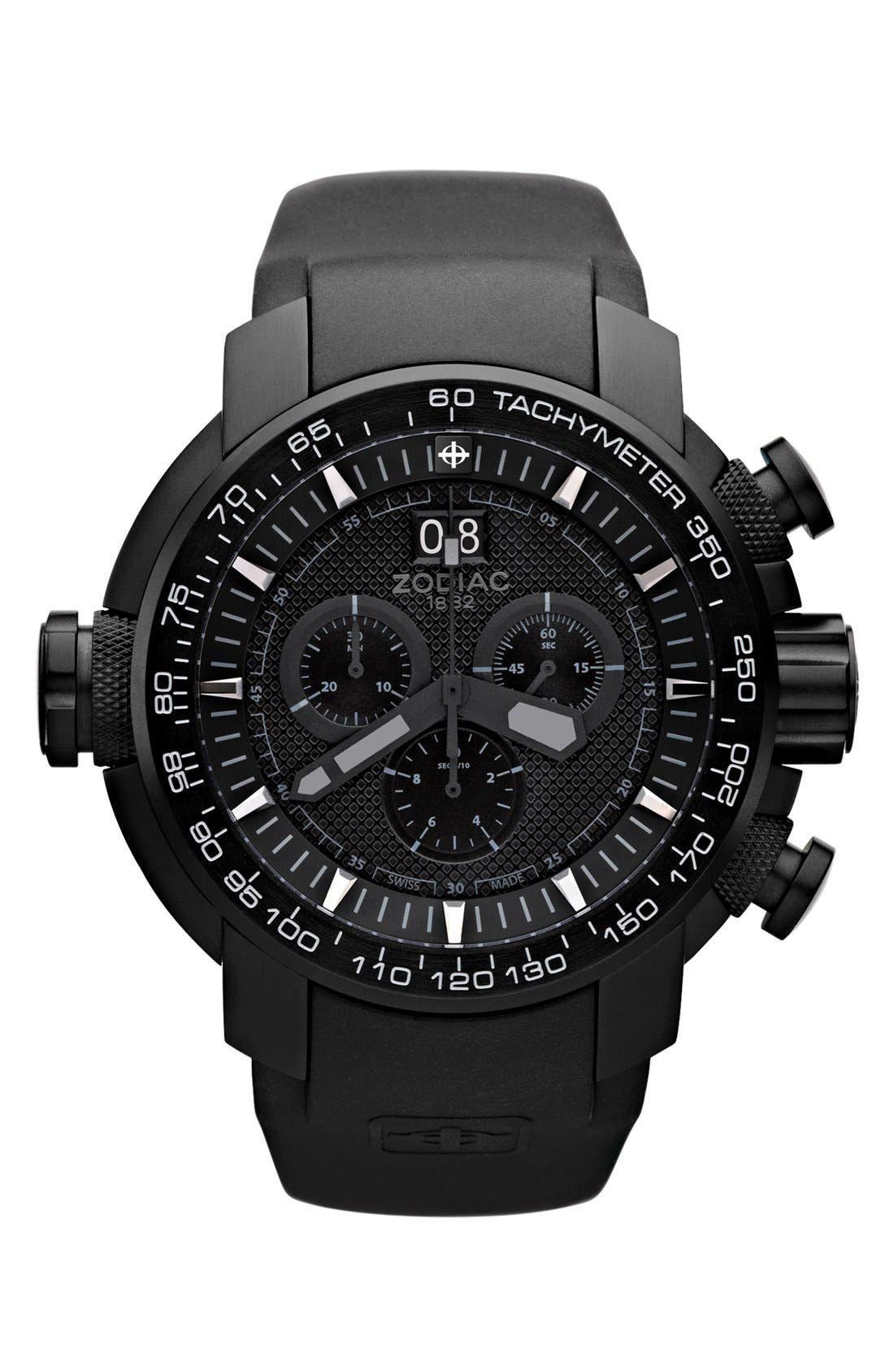 Alternate Image 1 Selected - Zodiac 'Special Ops' Chronograph Rubber Strap Watch, 50mm