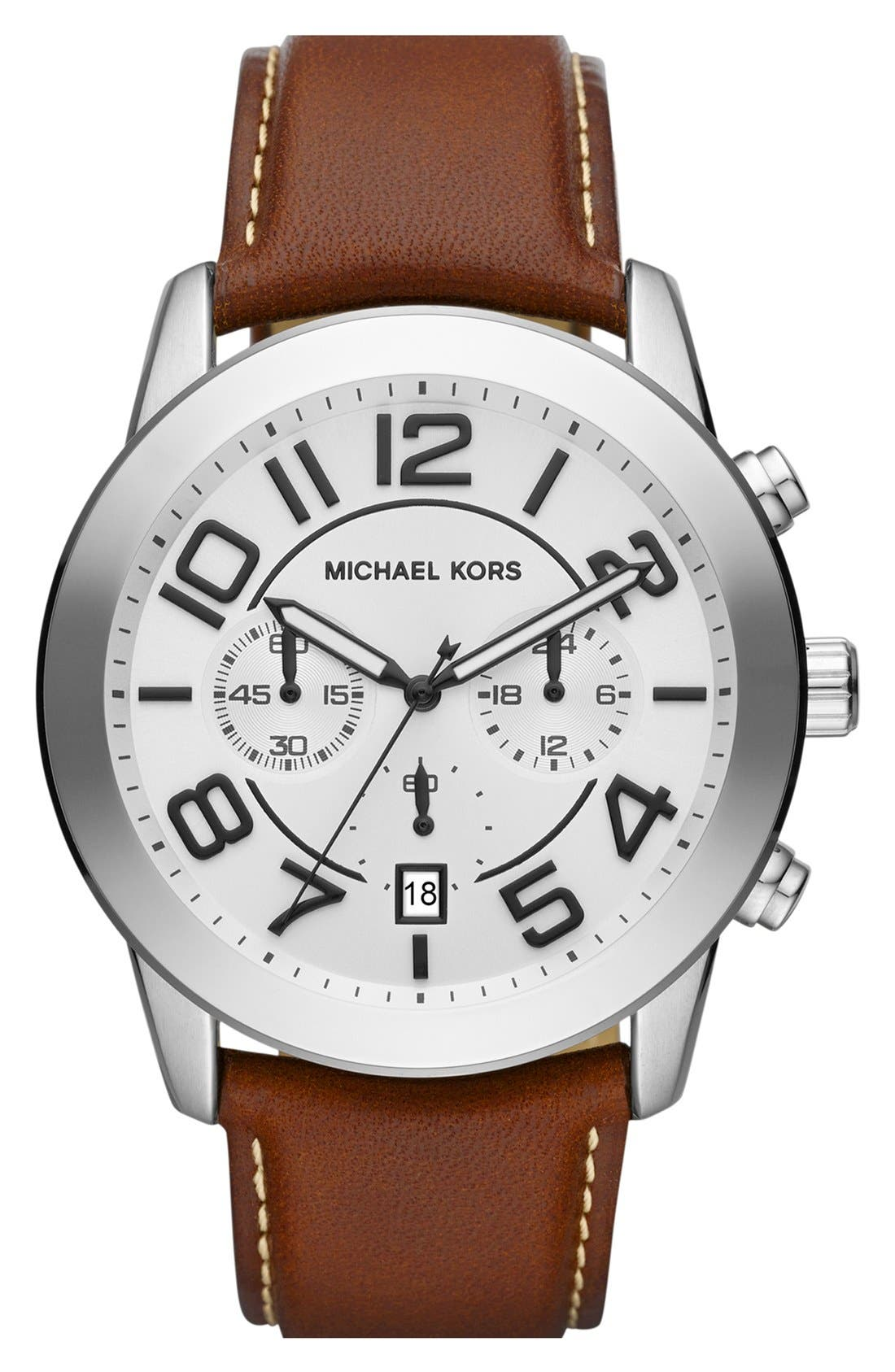 Main Image - Michael Kors 'Mercer' Large Chronograph Leather Strap Watch, 45mm