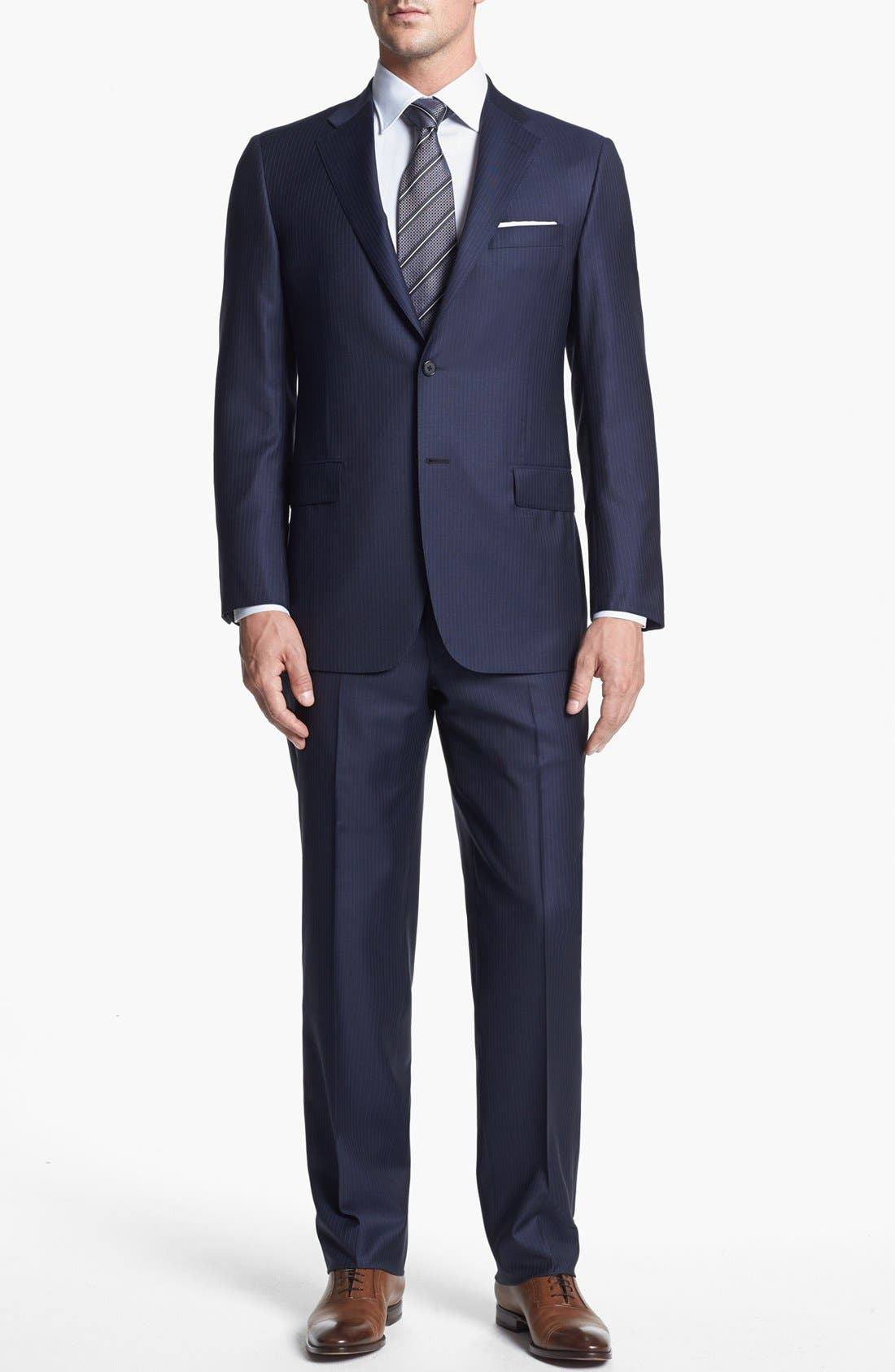 Alternate Image 1 Selected - Hickey Freeman 'Beacon' Classic Fit Stripe Suit
