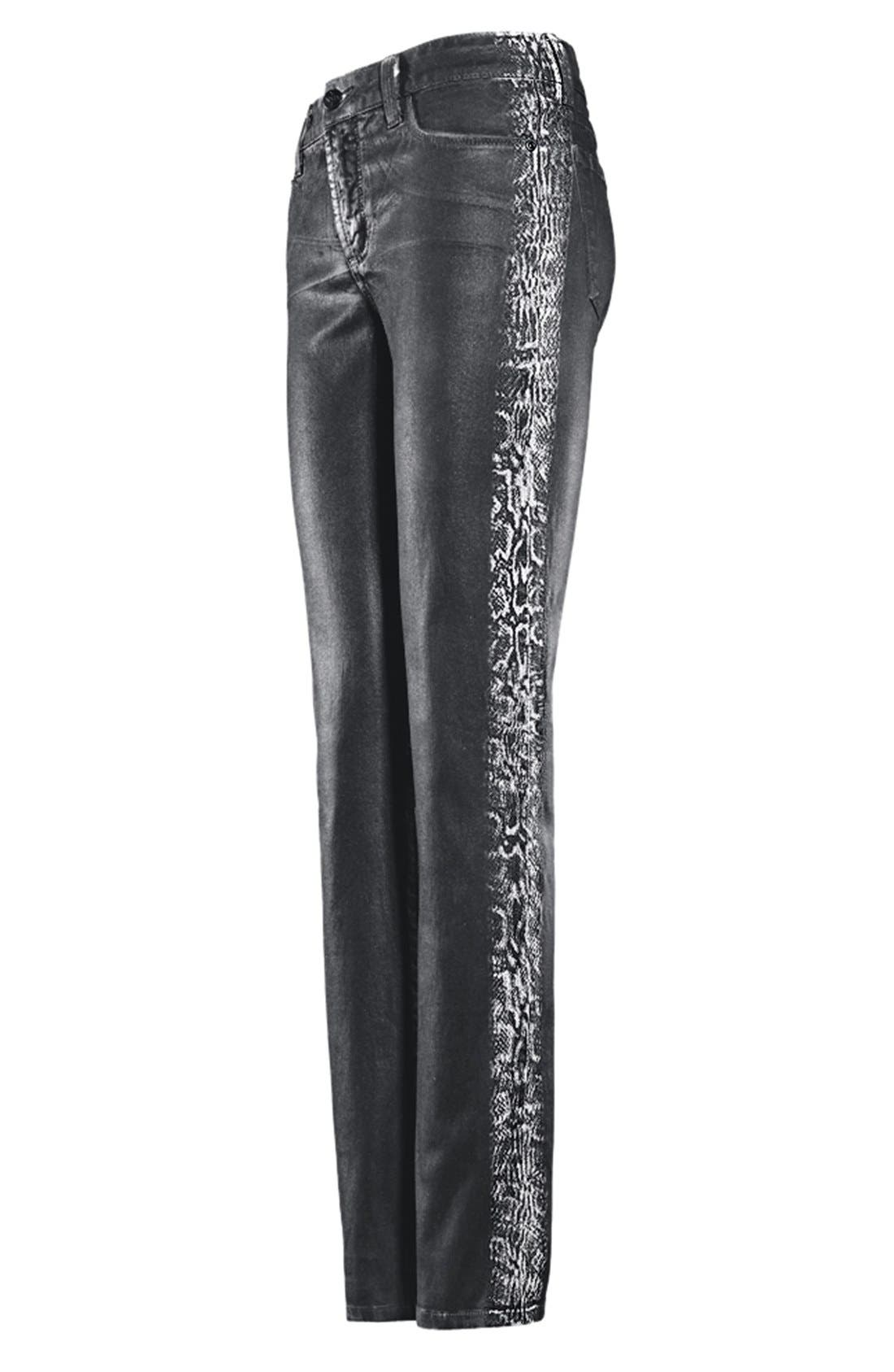Alternate Image 5  - NYDJ 'Sheri' Tuxedo Stripe Coated Skinny Jeans (Regular & Petite)