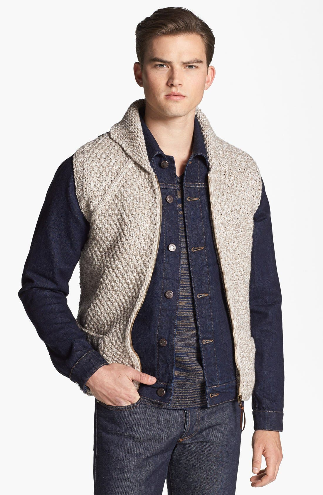 Alternate Image 1 Selected - Missoni Hand Knit Wool Shawl Collar Zip Vest
