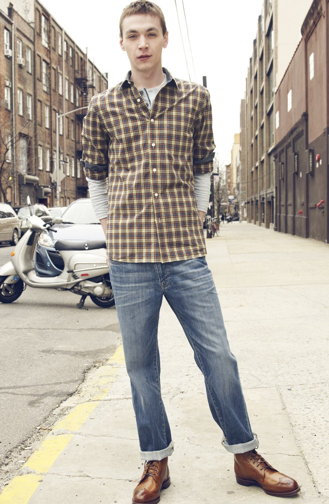 Alternate Image 5  - Lucky Brand '329' Classic Straight Leg Jeans (Sandy)