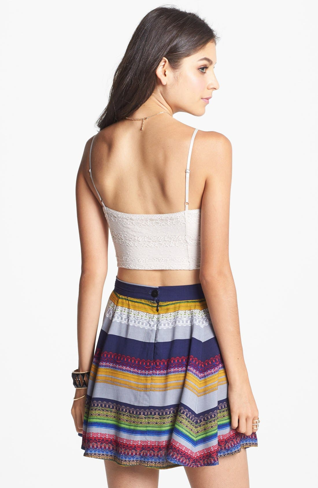 Alternate Image 2  - Lily White Print Skater Skirt (Juniors)