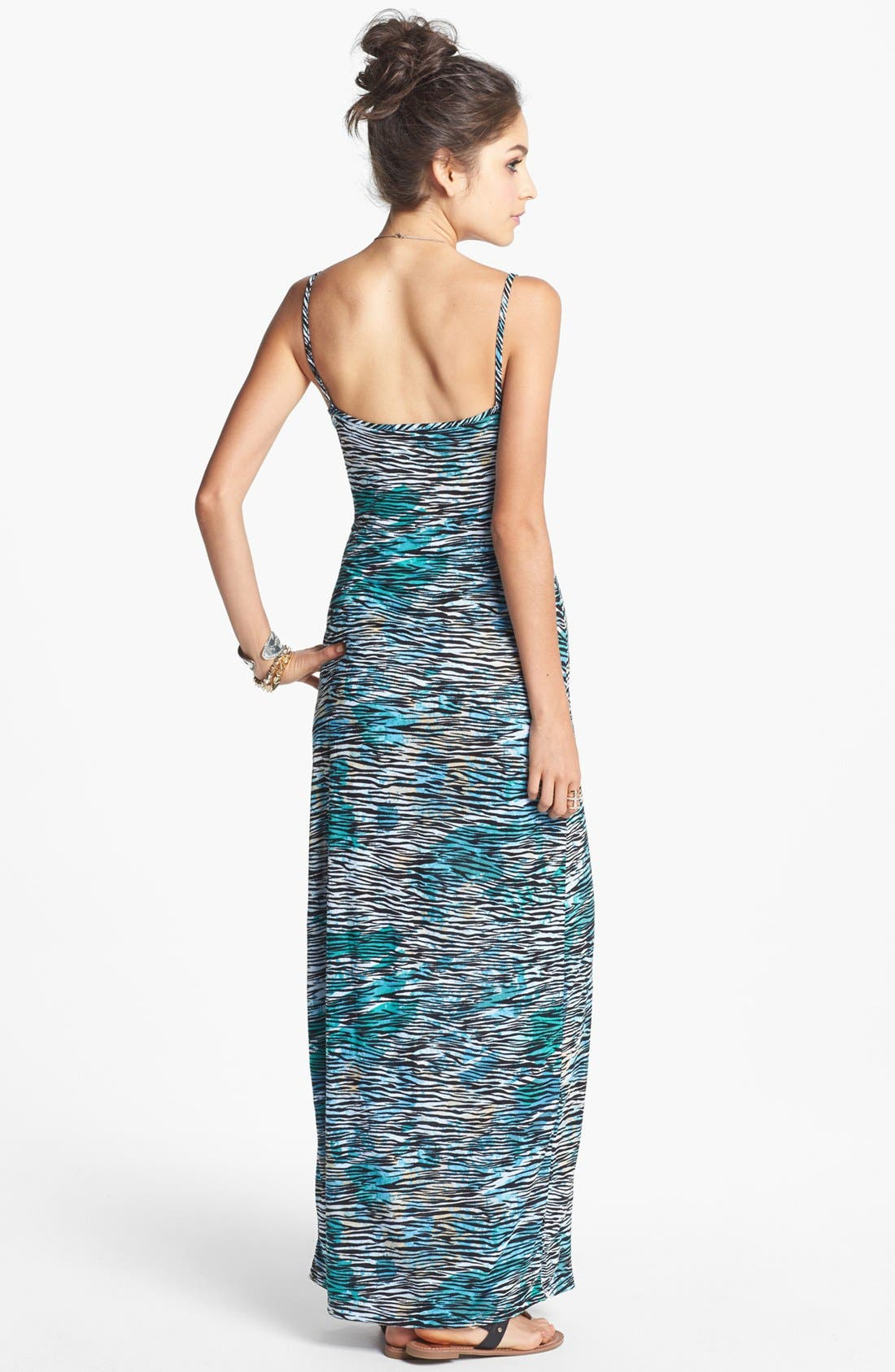 Alternate Image 2  - Minty Spaghetti Strap Maxi Dress (Juniors) (Online Only)
