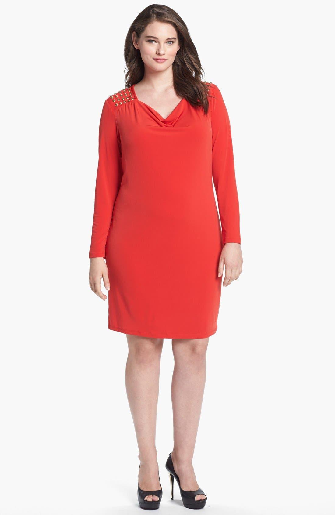 Main Image - MICHAEL Michael Kors Studded Cowl Neck Dress (Plus Size)