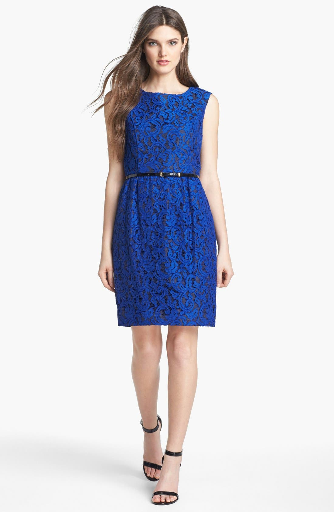 Alternate Image 1 Selected - Ellen Tracy Belted Lace Sheath Dress