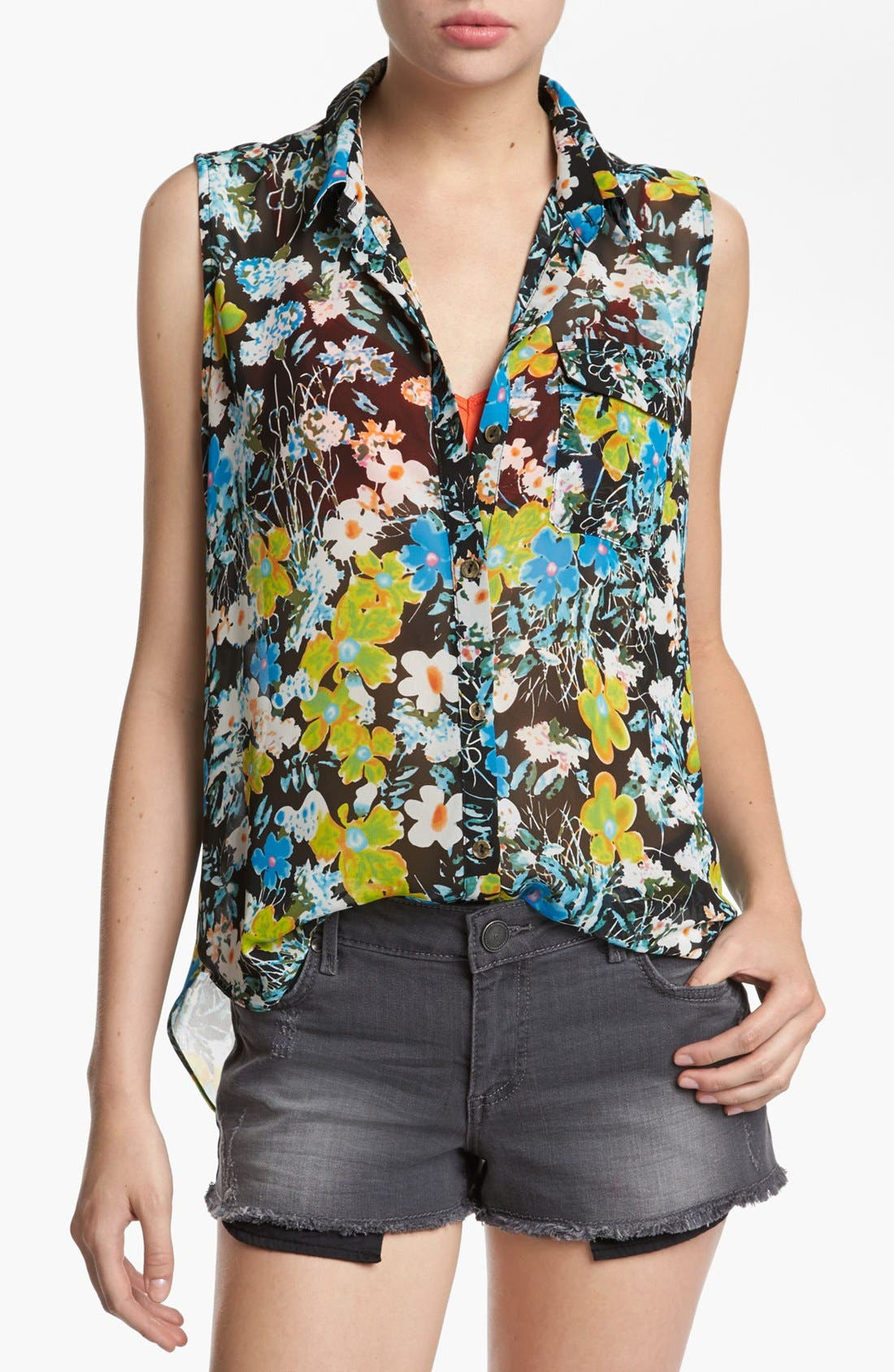 Alternate Image 1 Selected - Like Mynded Sheer Back Sleeveless Shirt