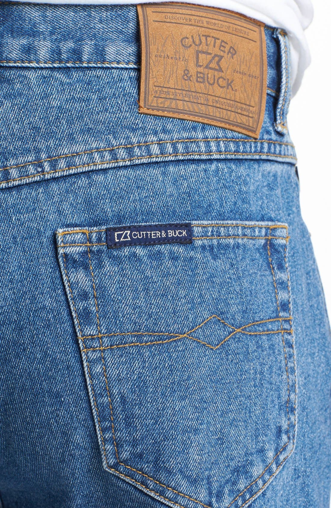 Alternate Image 4  - Cutter & Buck Classic Five Pocket Straight Leg Jeans (Denim Wash)