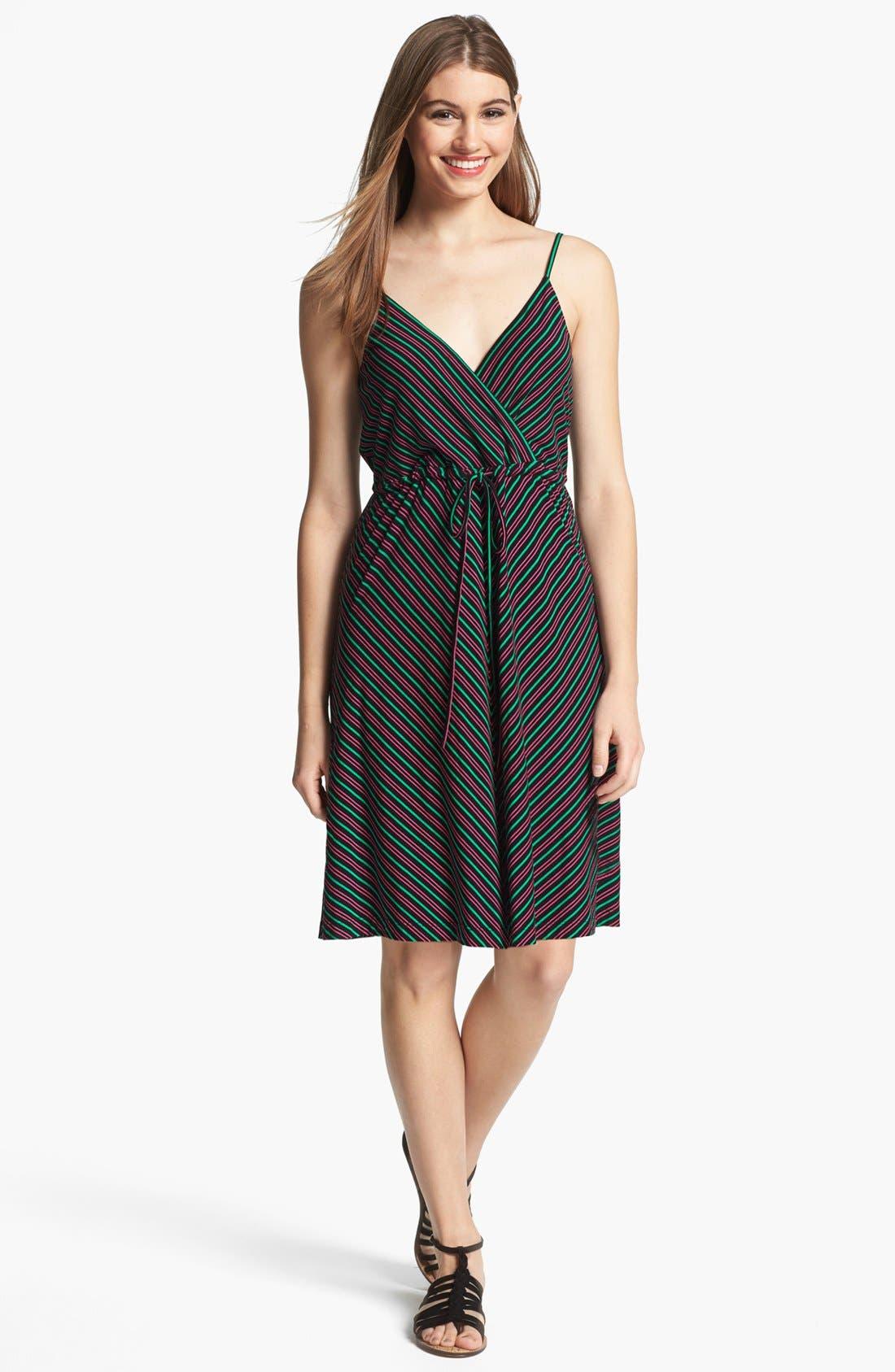 Alternate Image 1 Selected - Calvin Klein Stripe Knit Fit & Flare Dress
