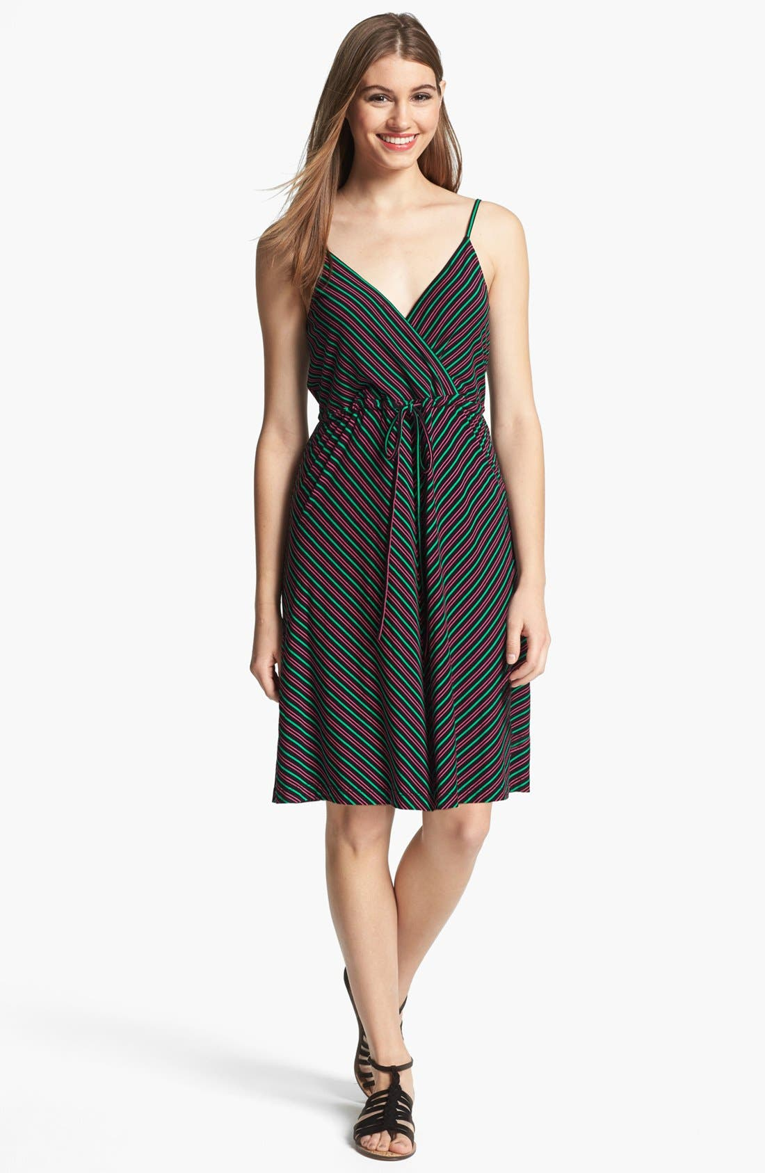 Main Image - Calvin Klein Stripe Knit Fit & Flare Dress