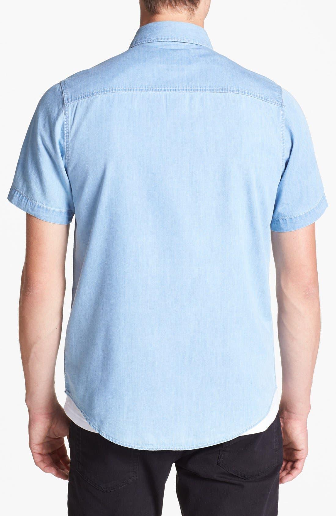 Alternate Image 2  - Topman Short Sleeve Denim Shirt