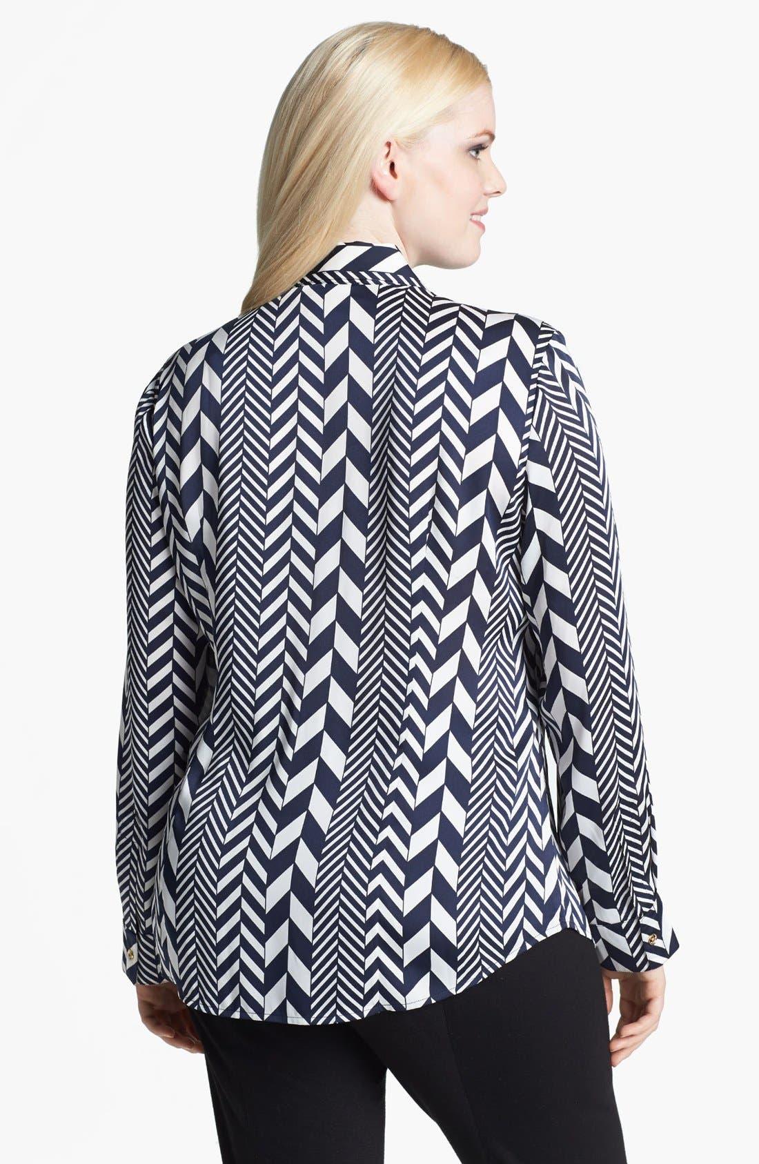 Alternate Image 2  - MICHAEL Michael Kors 'League Stripe' Shirt (Plus Size)