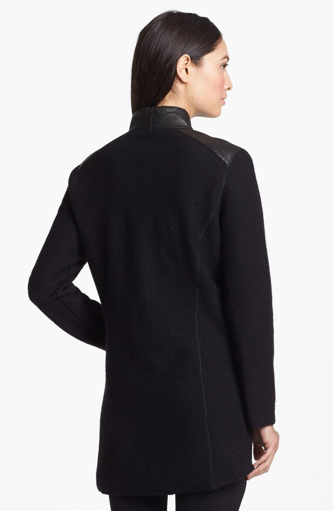 Alternate Image 3  - Eileen Fisher Leather Trim Boiled Wool Jacket