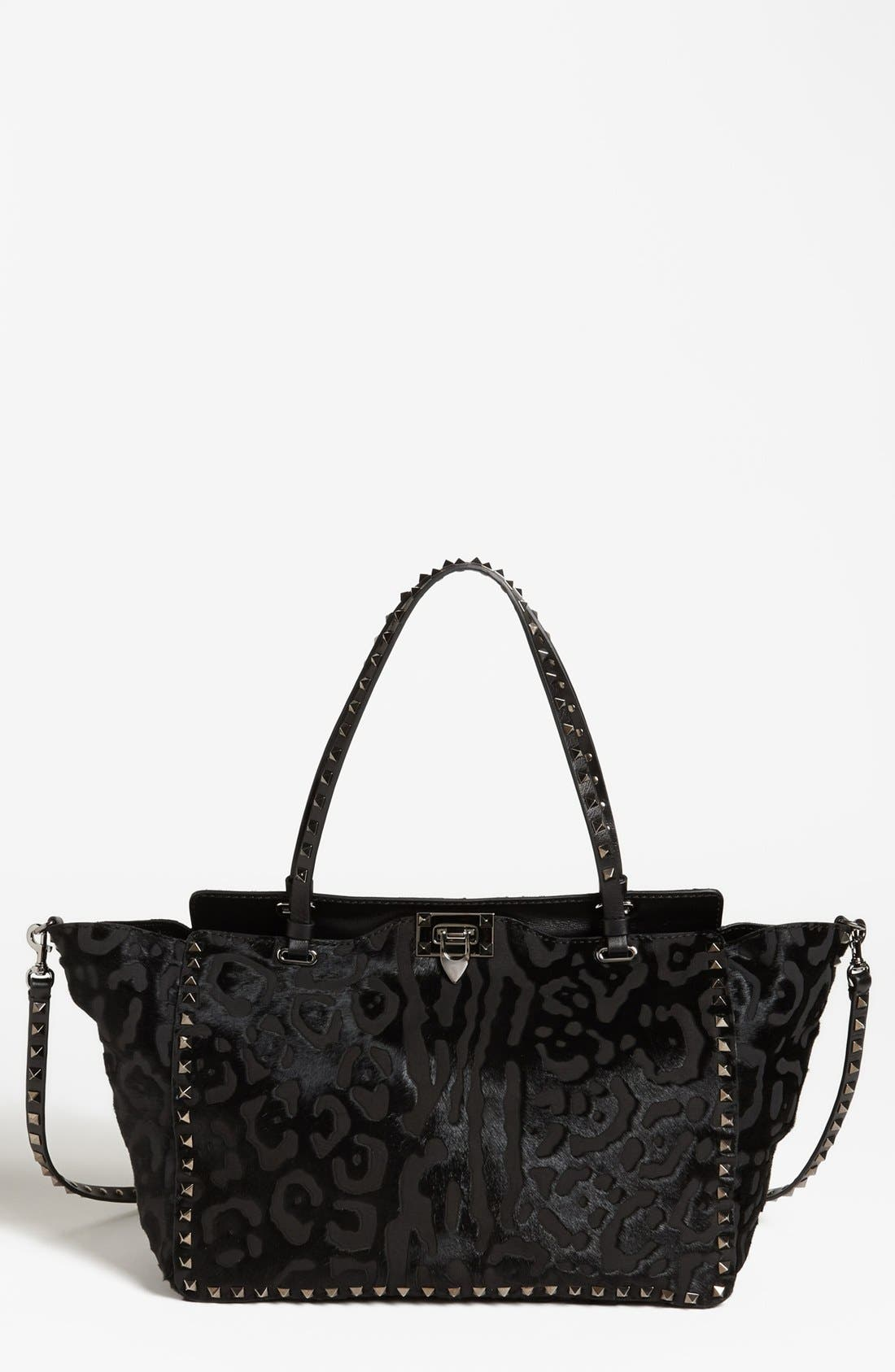 Alternate Image 1 Selected - Valentino 'Rockstud - Noir Laser' Calf Hair Tote