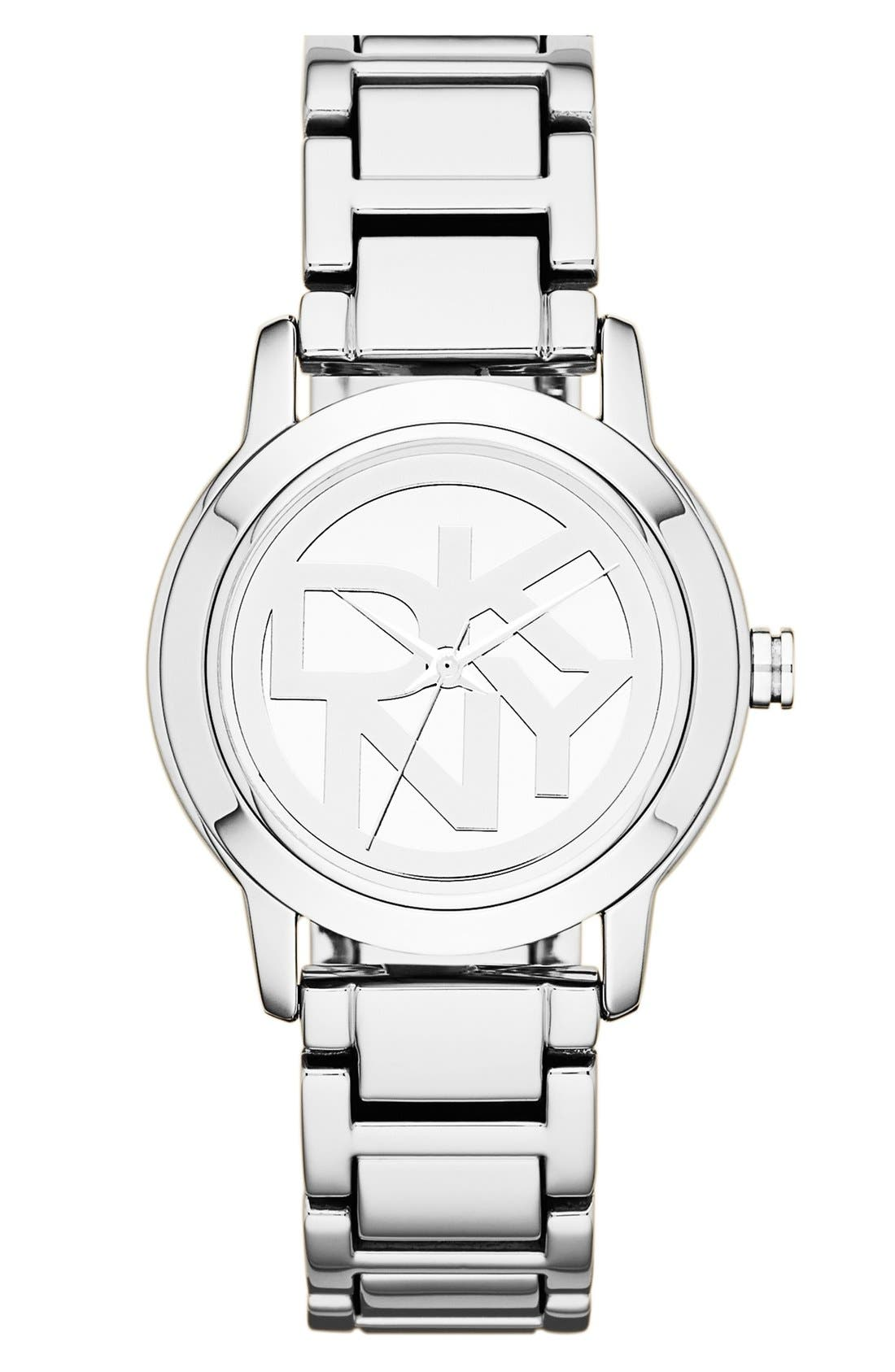 Main Image - DKNY 'Tompkins' Round Logo Dial Bracelet Watch, 32mm