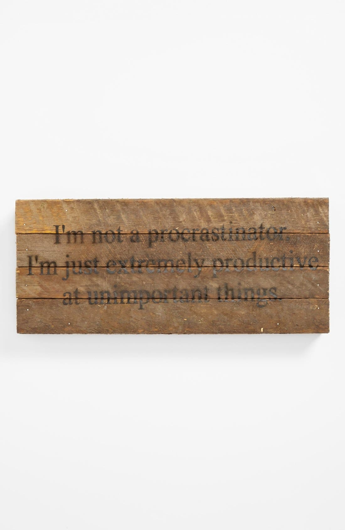 Main Image - 'I'm not a Procrastinator' Wood Wall Plaque