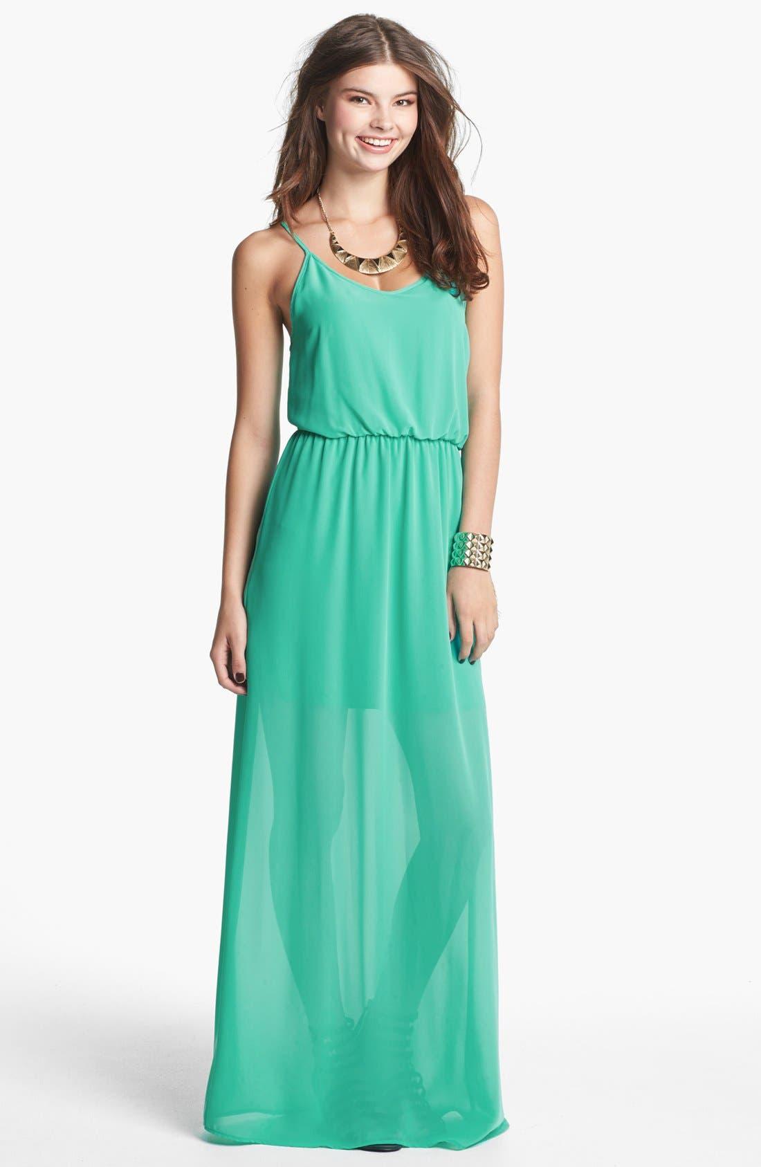 Main Image - Lush Bar Back Maxi Dress (Juniors)