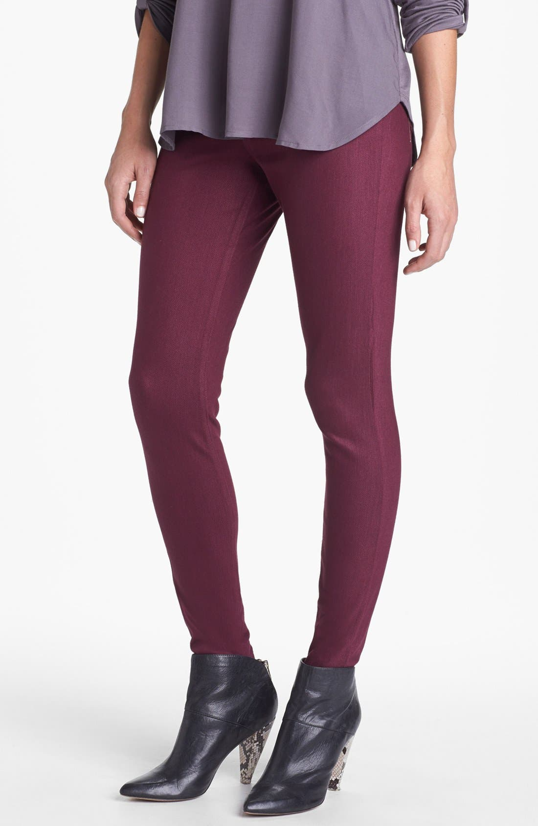 Alternate Image 1 Selected - Hue Waxed Denim Leggings