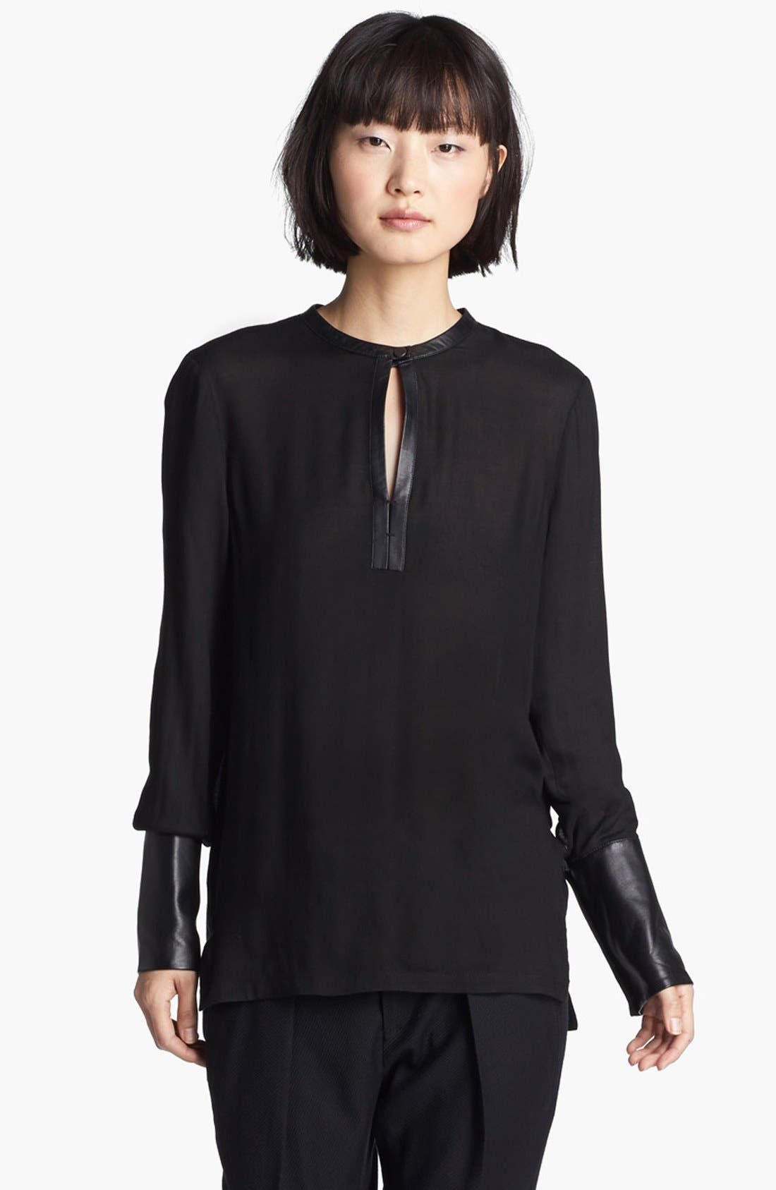 Main Image - Helmut Lang Leather Cuff Blouse