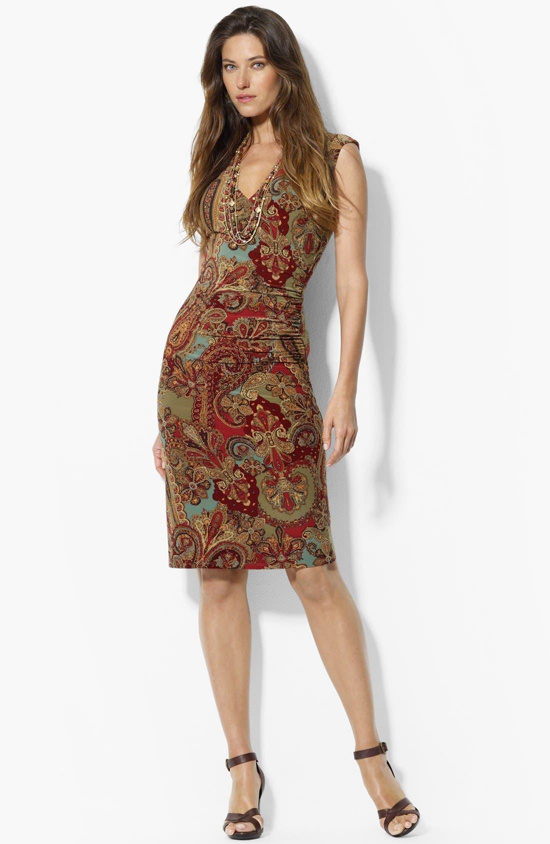 Alternate Image 1 Selected - Lauren Ralph Lauren Faux Wrap Dress (Petite)