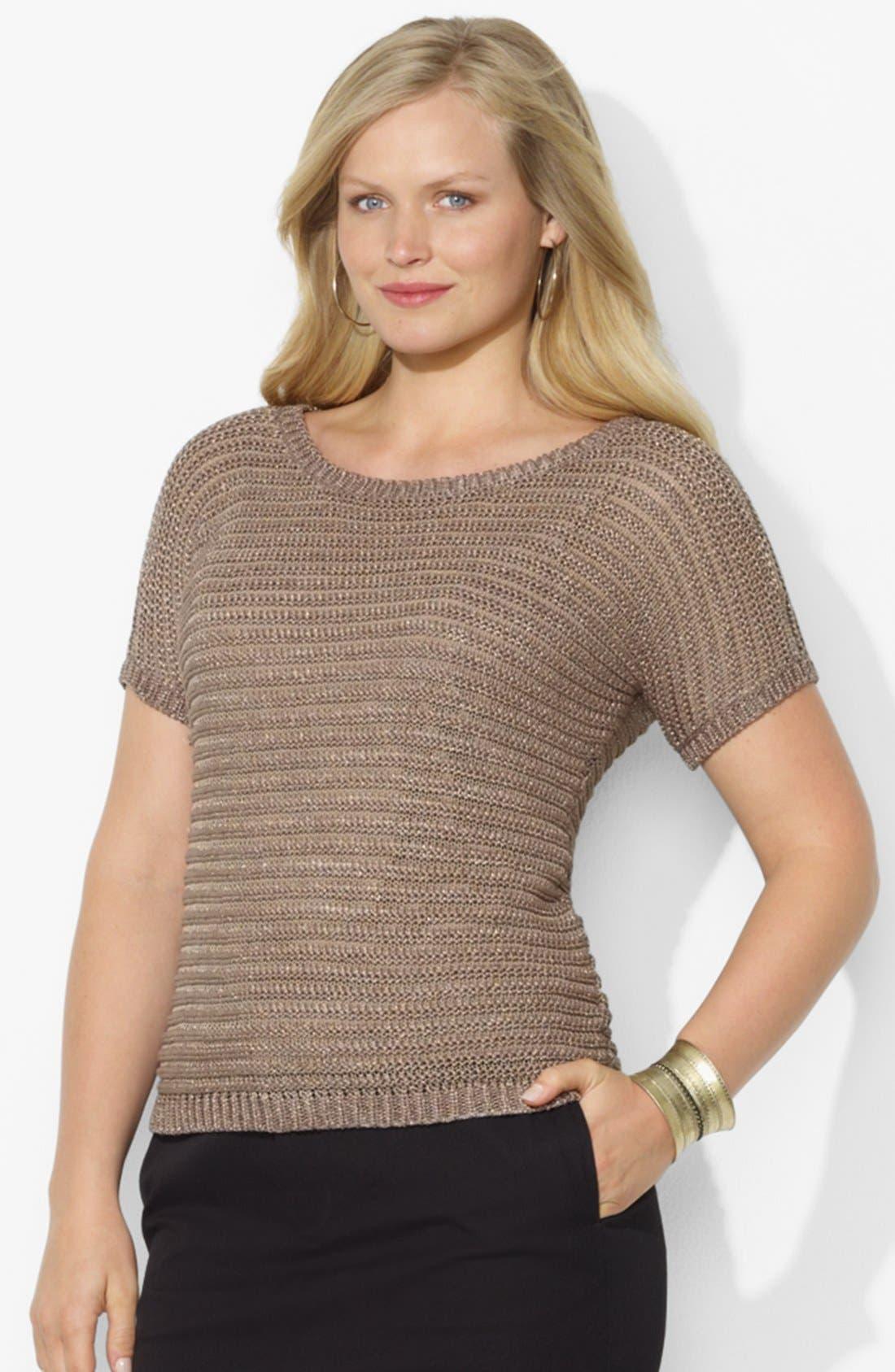 Alternate Image 1 Selected - Lauren Ralph Lauren Metallic Sweater (Plus Size)