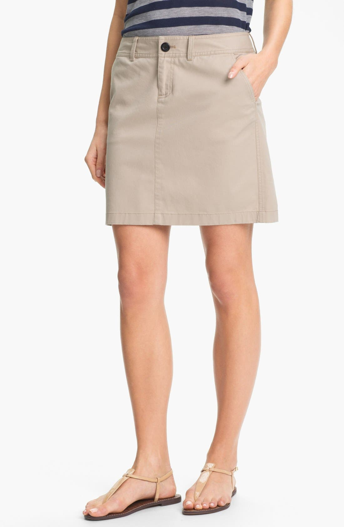 Alternate Image 1 Selected - Caslon® Twill Skirt (Petite)