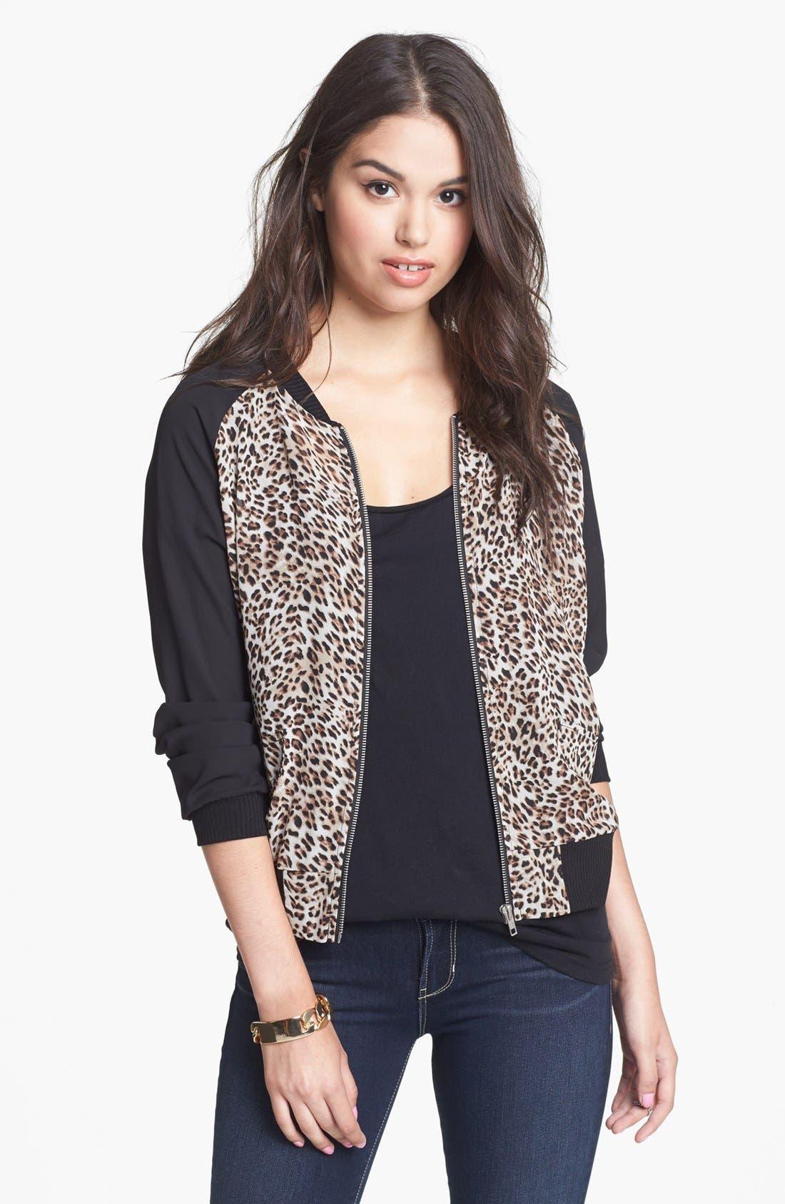 Main Image - Starling Cheetah Print Bomber Jacket (Juniors)