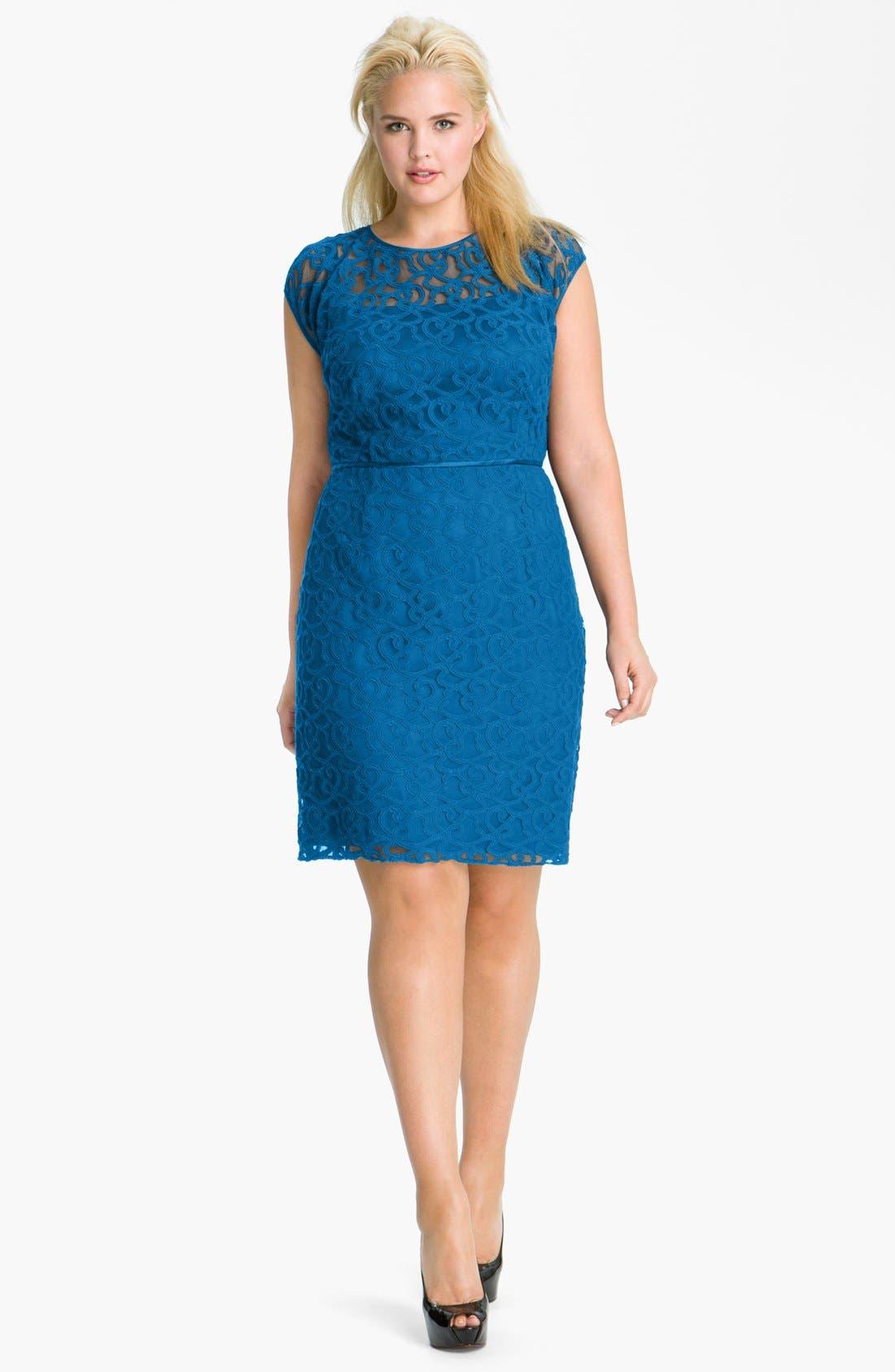 Alternate Image 1 Selected - Adrianna Papell Soutache Illusion Bodice Dress (Plus Size)