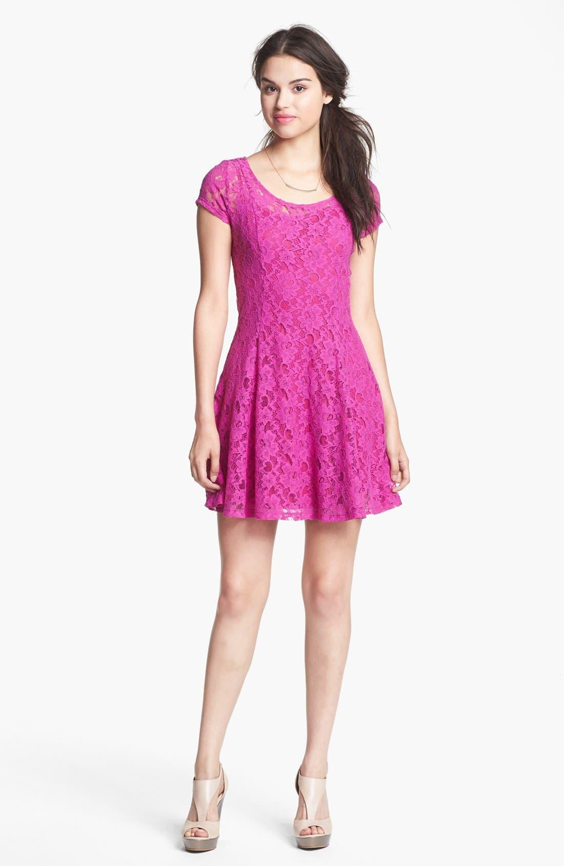 Minty Cap Sleeve Lace Skater Dress (Juniors)